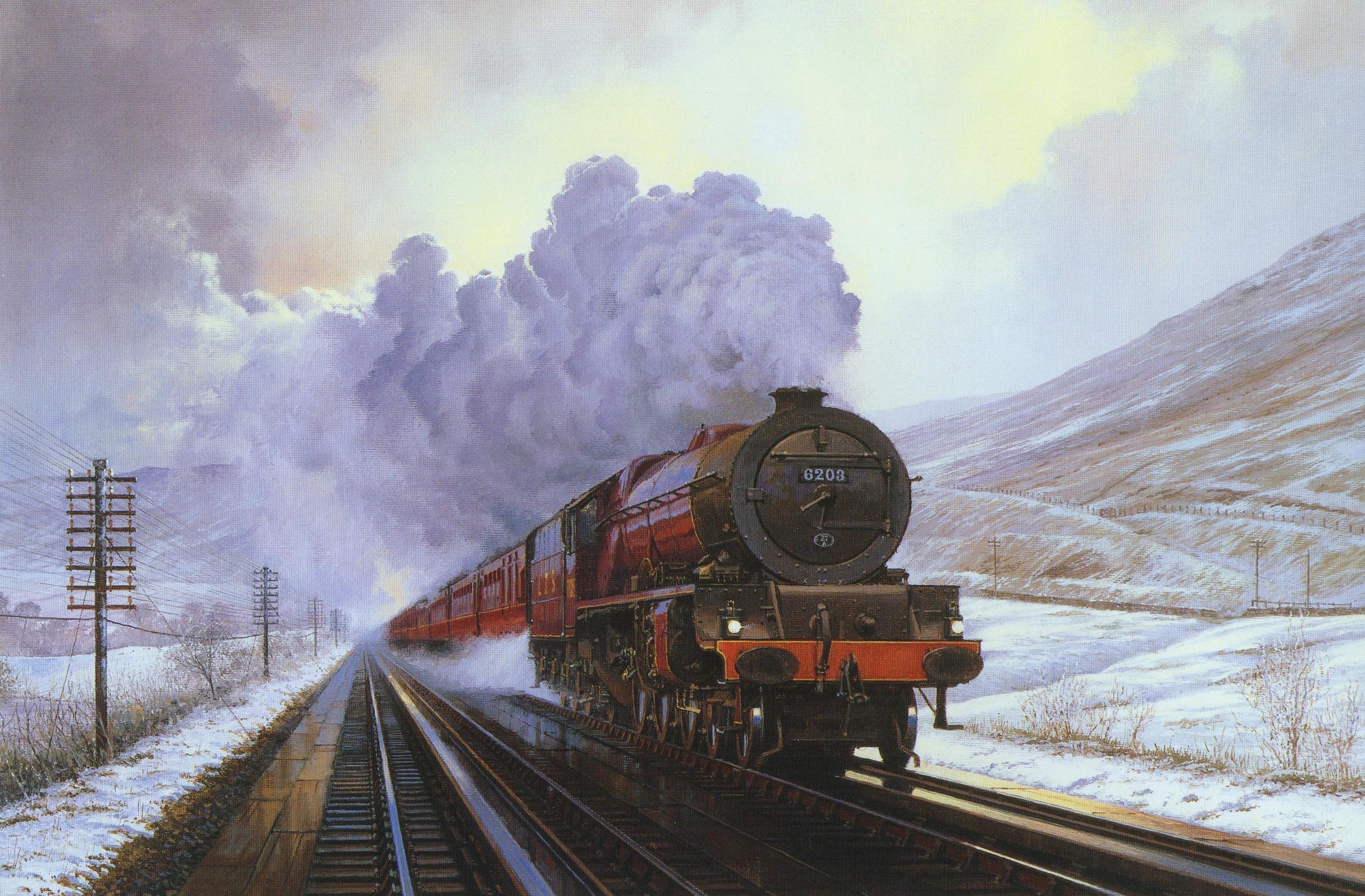 77660 Hintergrundbild herunterladen Winterreifen, Kunst, Raucher, Schnee, Malerei, Segeltuch, Leinwand, Ein Zug, Zug - Bildschirmschoner und Bilder kostenlos