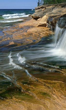 2045 download wallpaper Landscape, Water, Stones, Waterfalls screensavers and pictures for free