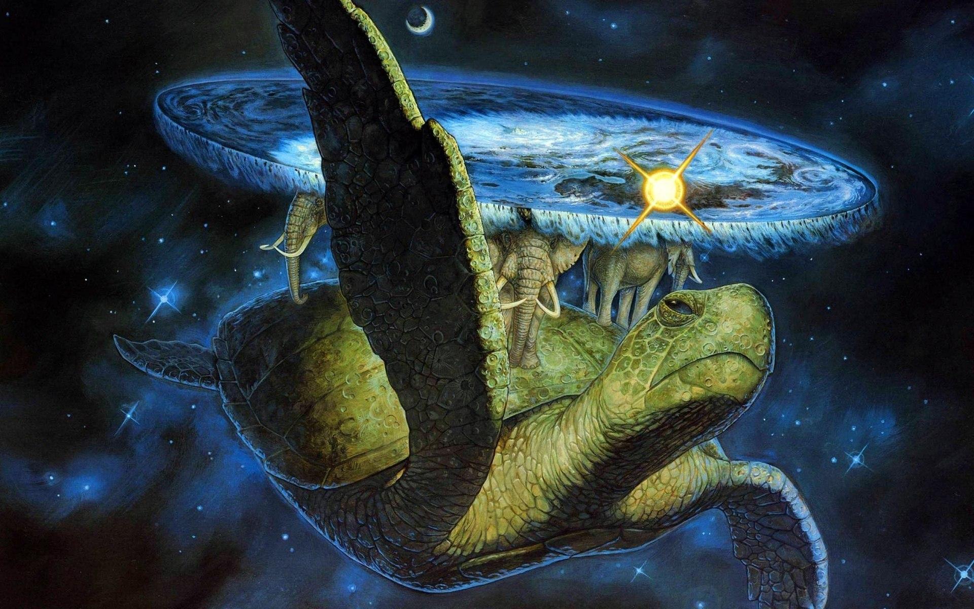 16975 скачать обои Фэнтези, Черепахи, Космос, Рисунки - заставки и картинки бесплатно