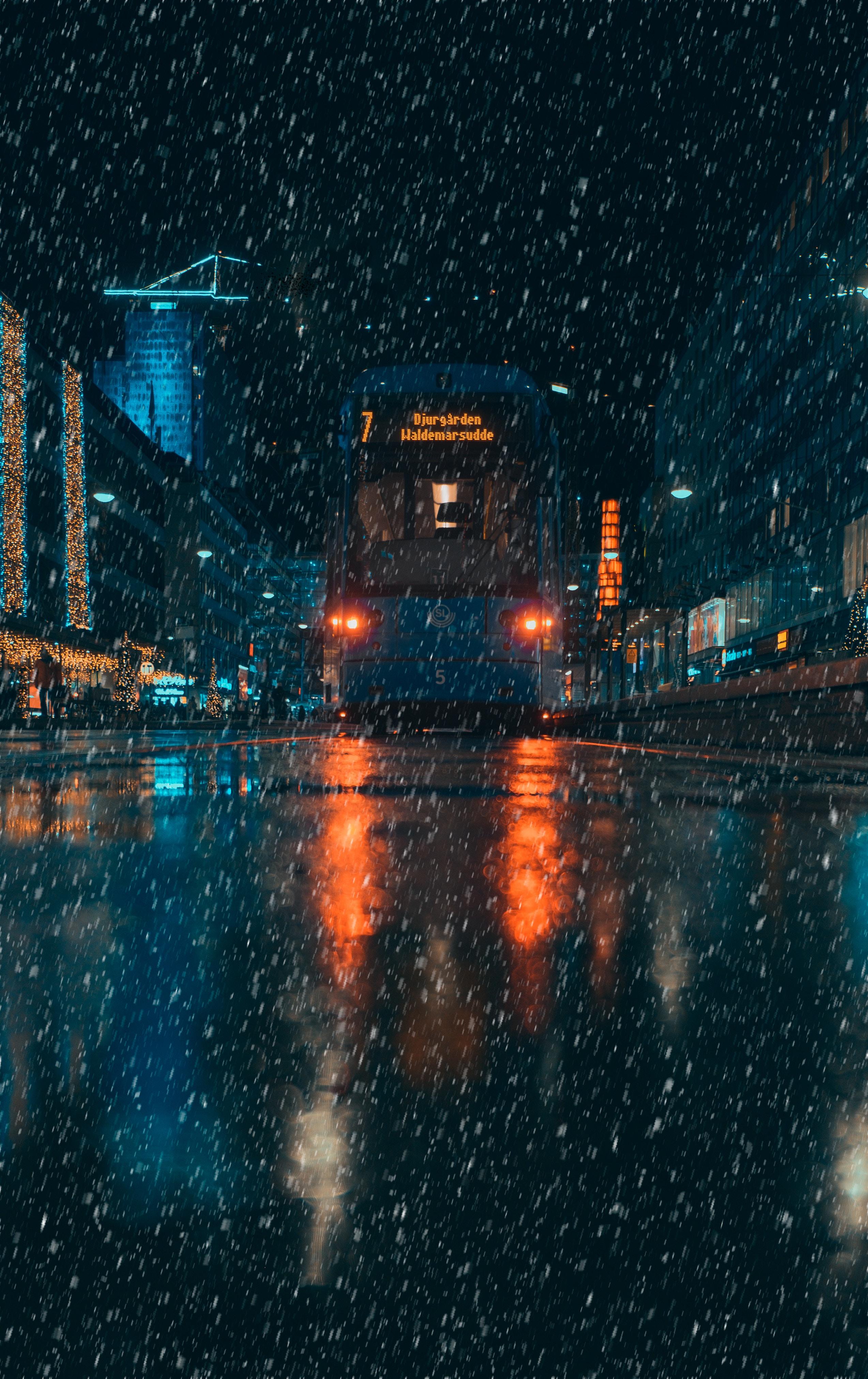 83341 скачать обои Транспорт, Дождь, Ночь, Город, Темные, Вечер - заставки и картинки бесплатно