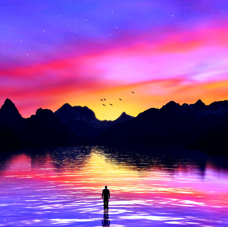 85283 скачать обои Море, Разноцветный, Закат, Арт, Горы, Силуэт - заставки и картинки бесплатно