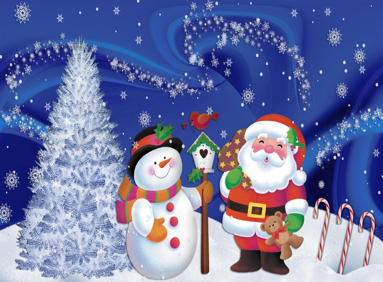 146658 Hintergrundbild herunterladen Weihnachten, Feiertage, Weihnachtsmann, Schneeflocken, Schneemann, Weihnachtsbaum, Postkarte - Bildschirmschoner und Bilder kostenlos