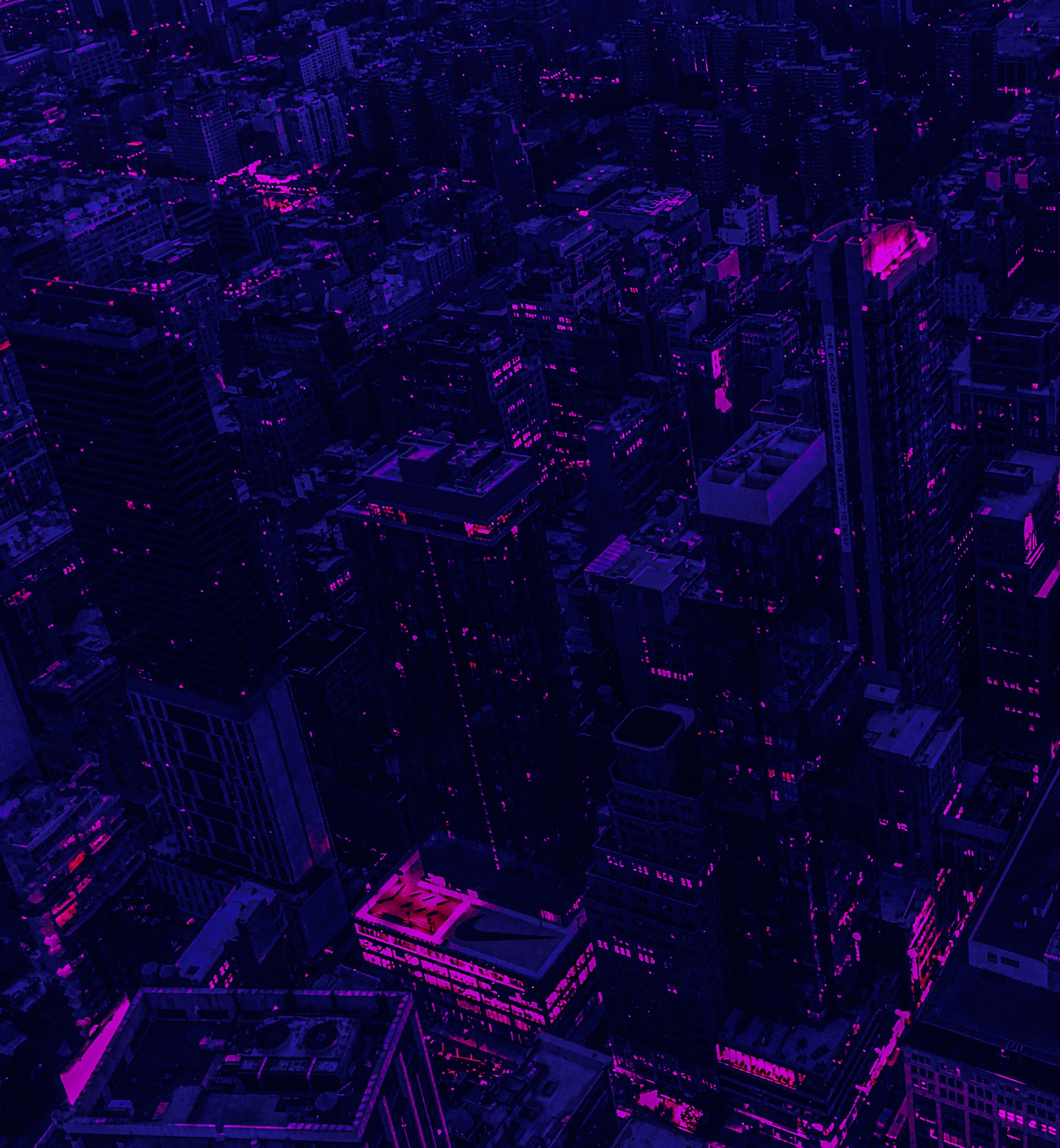 155321 free wallpaper 320x480 for phone, download images Violet, City, Building, View From Above, Dark, Purple 320x480 for mobile