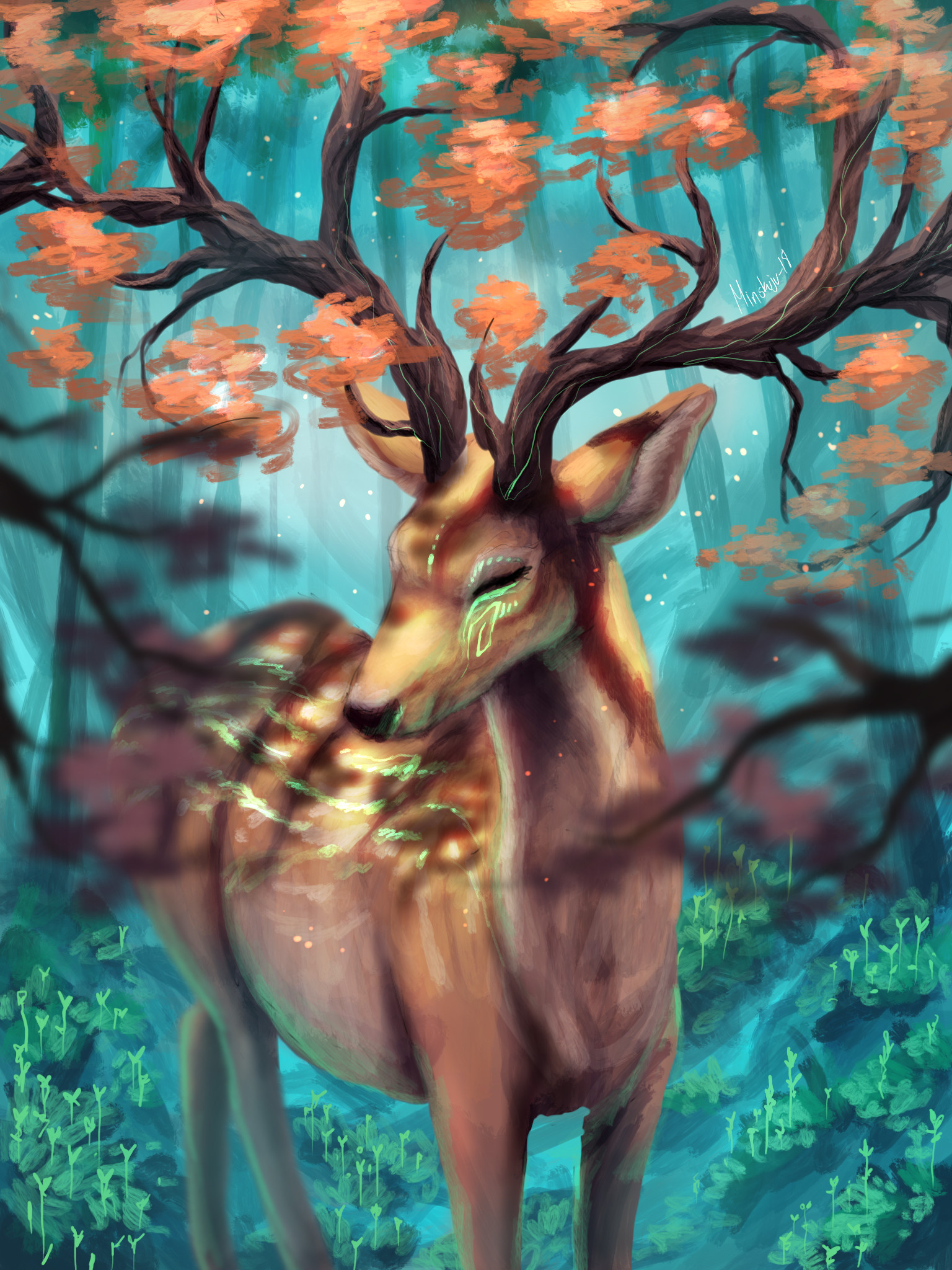 151434 download wallpaper Deer, Horns, Branches, Art screensavers and pictures for free