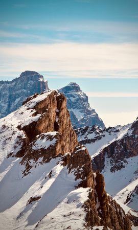 106932 télécharger le fond d'écran Nature, Montagne, Sommet, Retour Au Début, Couvert De Neige, Snowbound, Neige, Sky, Culminer - économiseurs d'écran et images gratuitement
