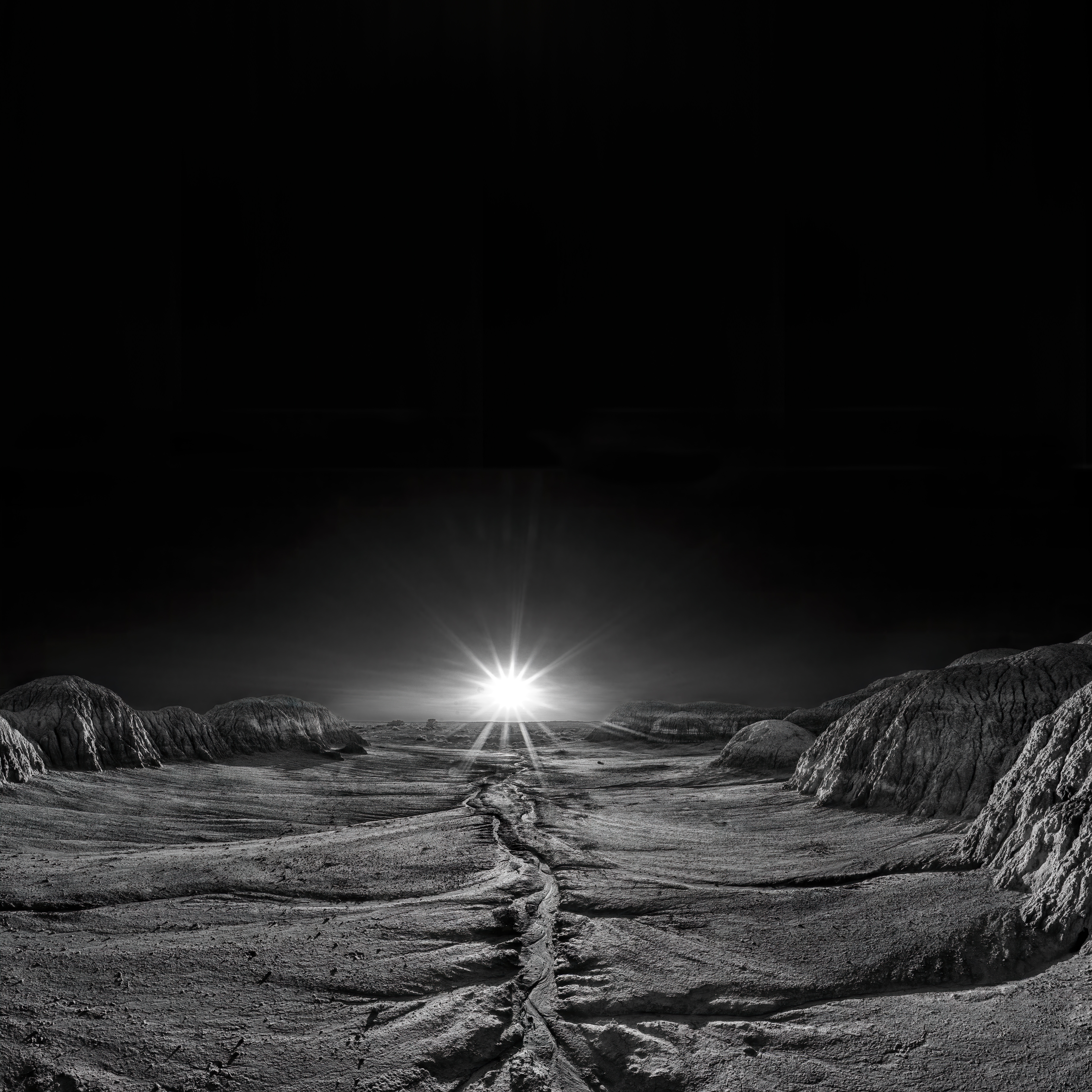 146886 Screensavers and Wallpapers Beams for phone. Download Landscape, Shining, Dawn, Beams, Rays, Flash, Stone, Bw, Chb, Deserted pictures for free