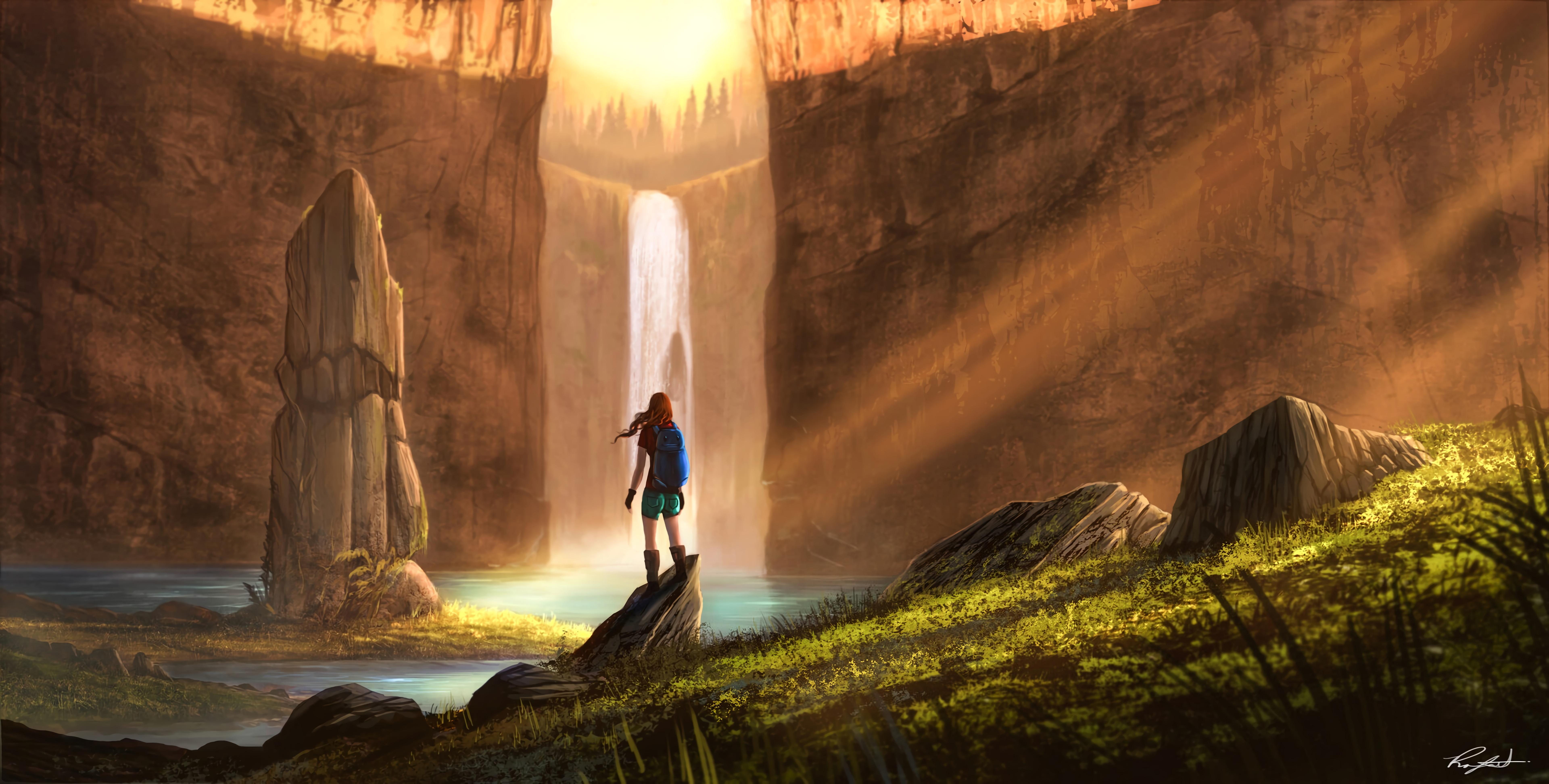66381 скачать обои Девушка, Водопад, Скалы, Путешествие, Арт - заставки и картинки бесплатно