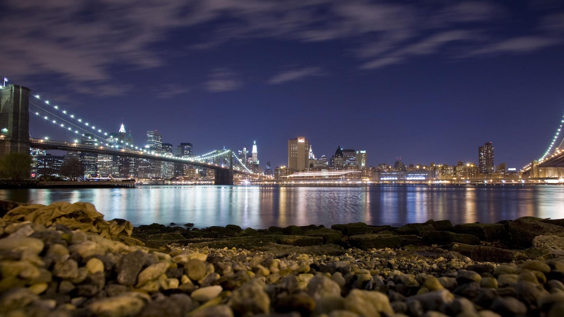 16500 скачать обои Пейзаж, Города, Река, Мосты, Ночь - заставки и картинки бесплатно