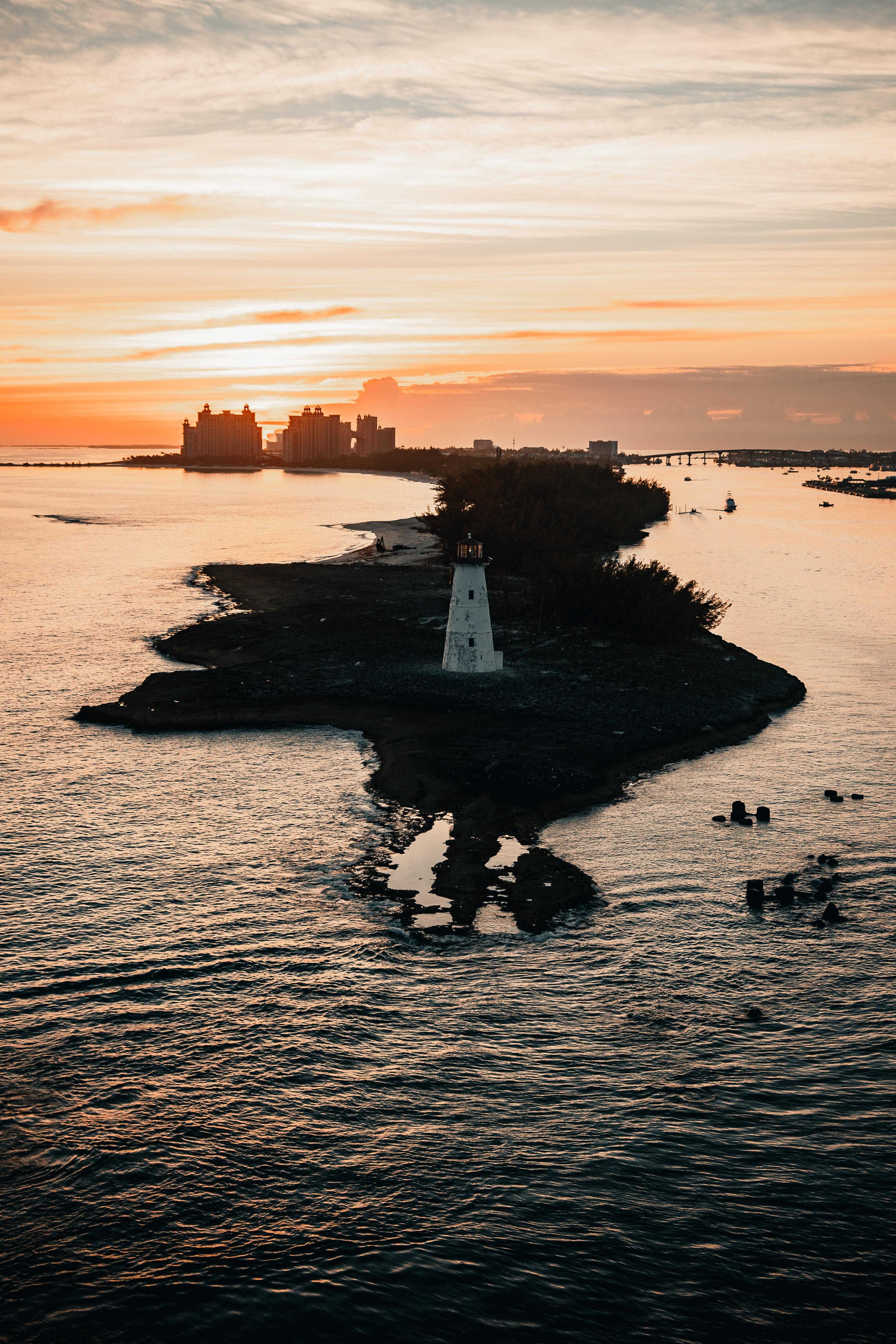 145362壁紙のダウンロードその他, 雑, 灯台, タワー, 塔, 島, 海, 建物, 日没-スクリーンセーバーと写真を無料で