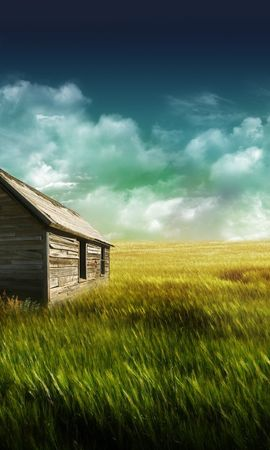 25822 скачать обои Пейзаж, Дома, Поля, Небо, Облака, Рисунки - заставки и картинки бесплатно