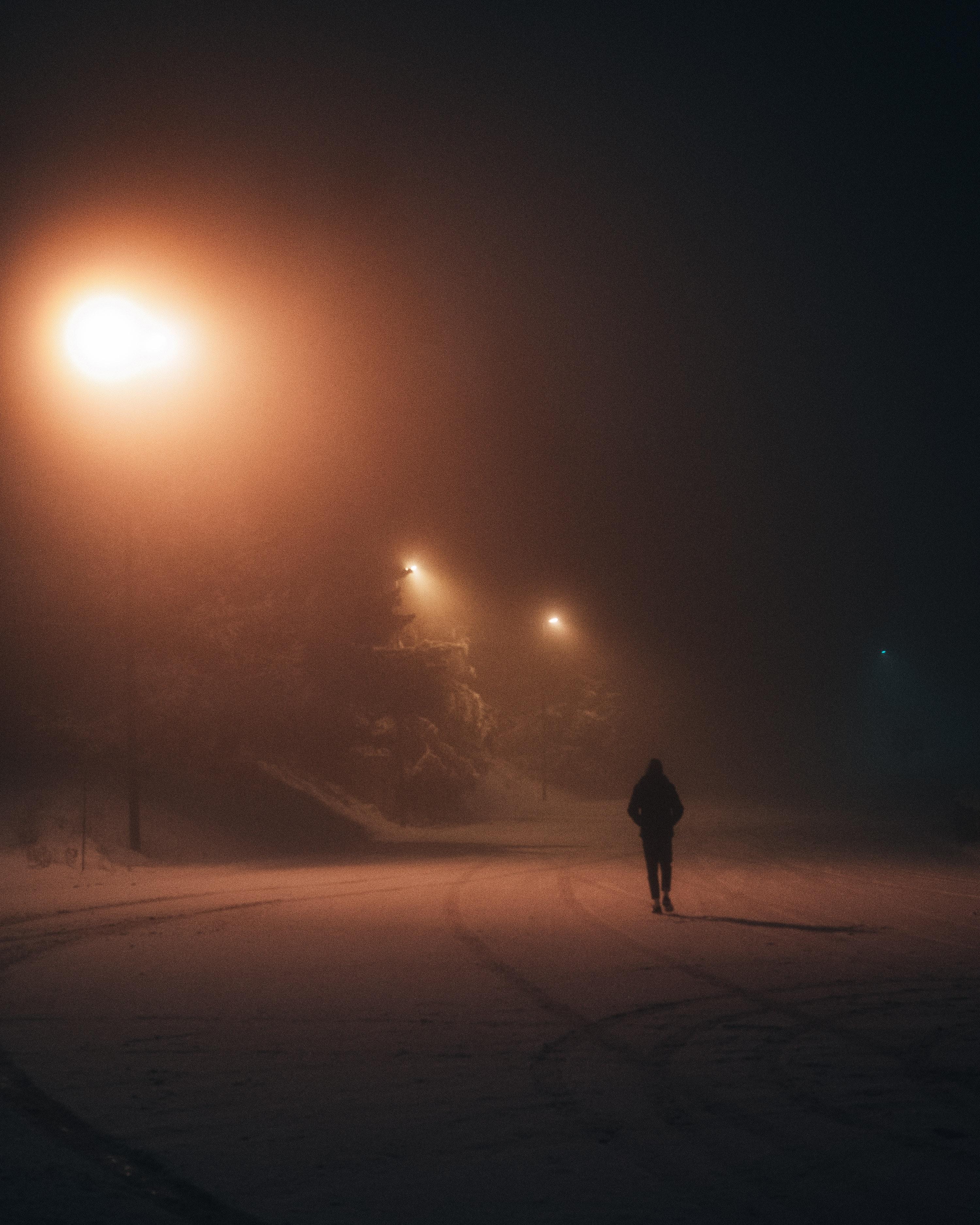 83529 Hintergrundbild 720x1280 kostenlos auf deinem Handy, lade Bilder Übernachtung, Schnee, Lichter, Silhouette, Verschiedenes, Sonstige, Laternen, Einsamkeit 720x1280 auf dein Handy herunter