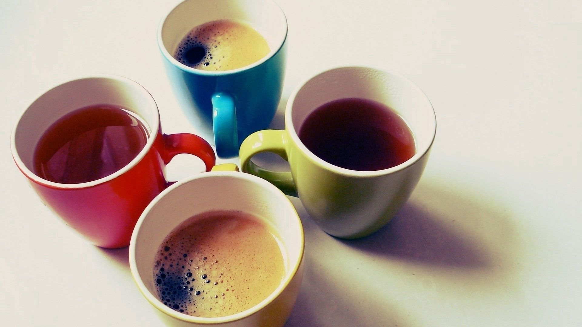 151383 download wallpaper Food, Goblets, Glasses, Tea, Coffee, Multicolored screensavers and pictures for free