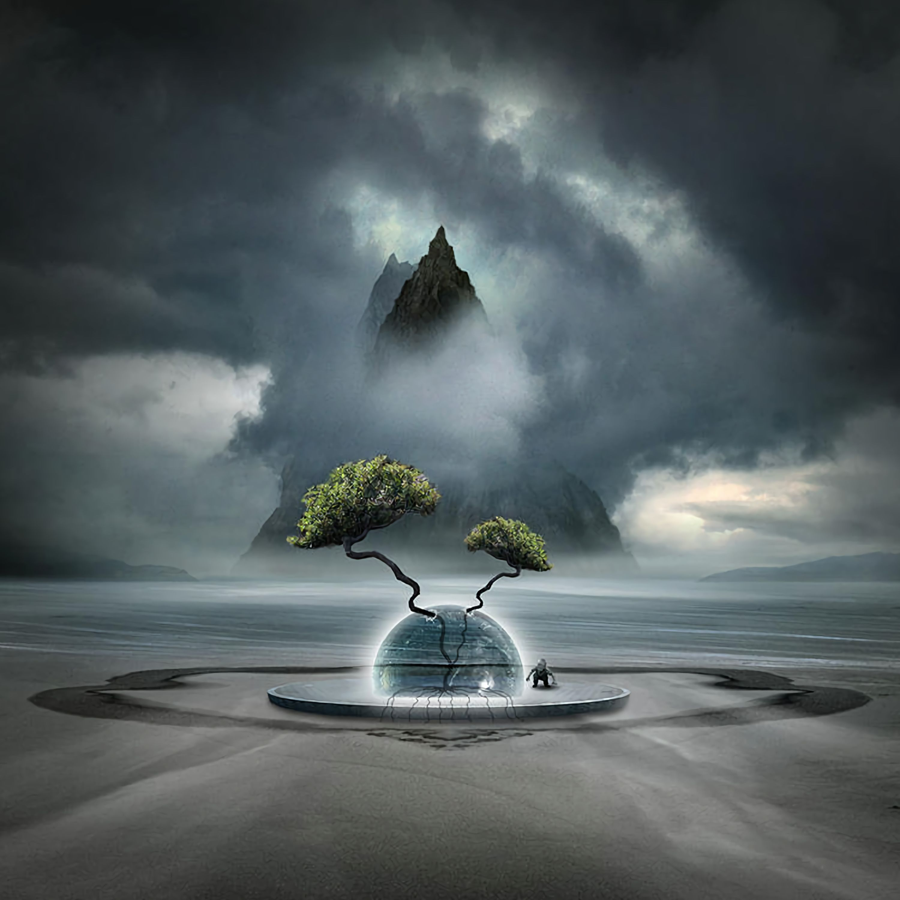 107044 Screensavers and Wallpapers Fiction for phone. Download Art, Clouds, Mountain, Wood, Tree, Fog, Ball, Fiction, That's Incredible pictures for free