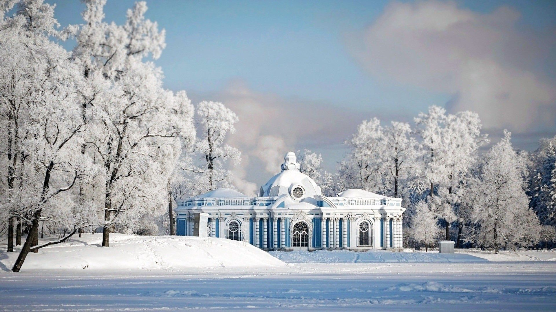 146309 download wallpaper Snow, Winter, Nature, City, Temple screensavers and pictures for free