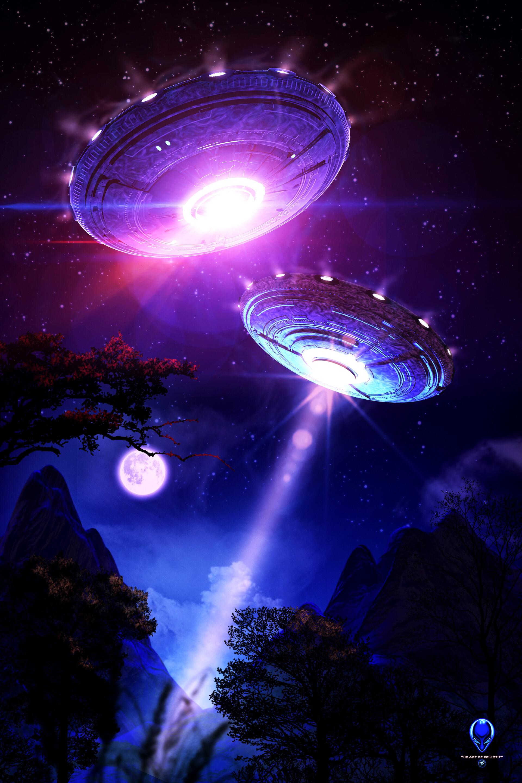 154881 скачать обои Космос, Нло, Ночь, Свет, Свечение, Пришельцы, Летающие Тарелки - заставки и картинки бесплатно