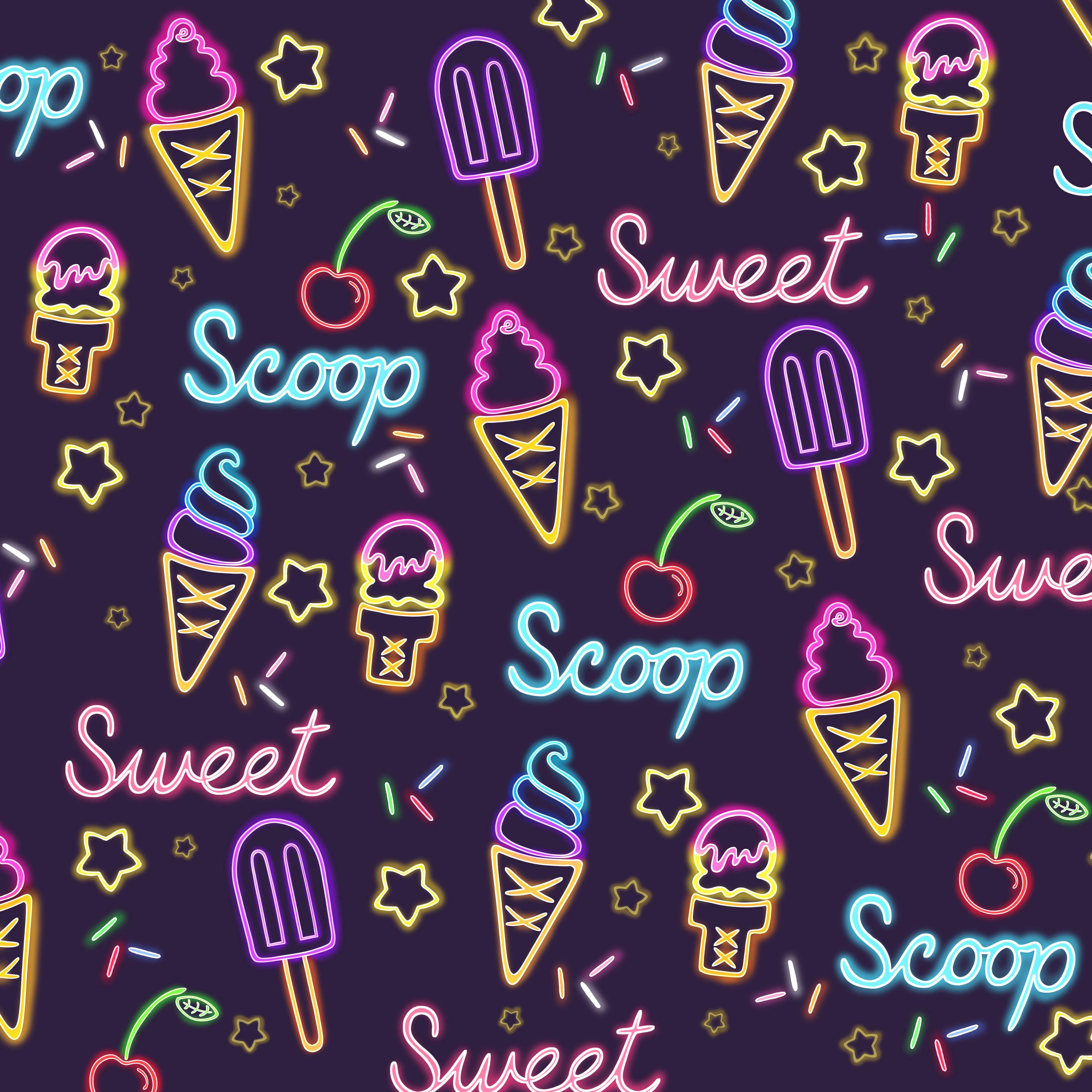 92867 download wallpaper Ice Cream, Neon, Patterns, Pattern, Texture, Textures, Sweet screensavers and pictures for free