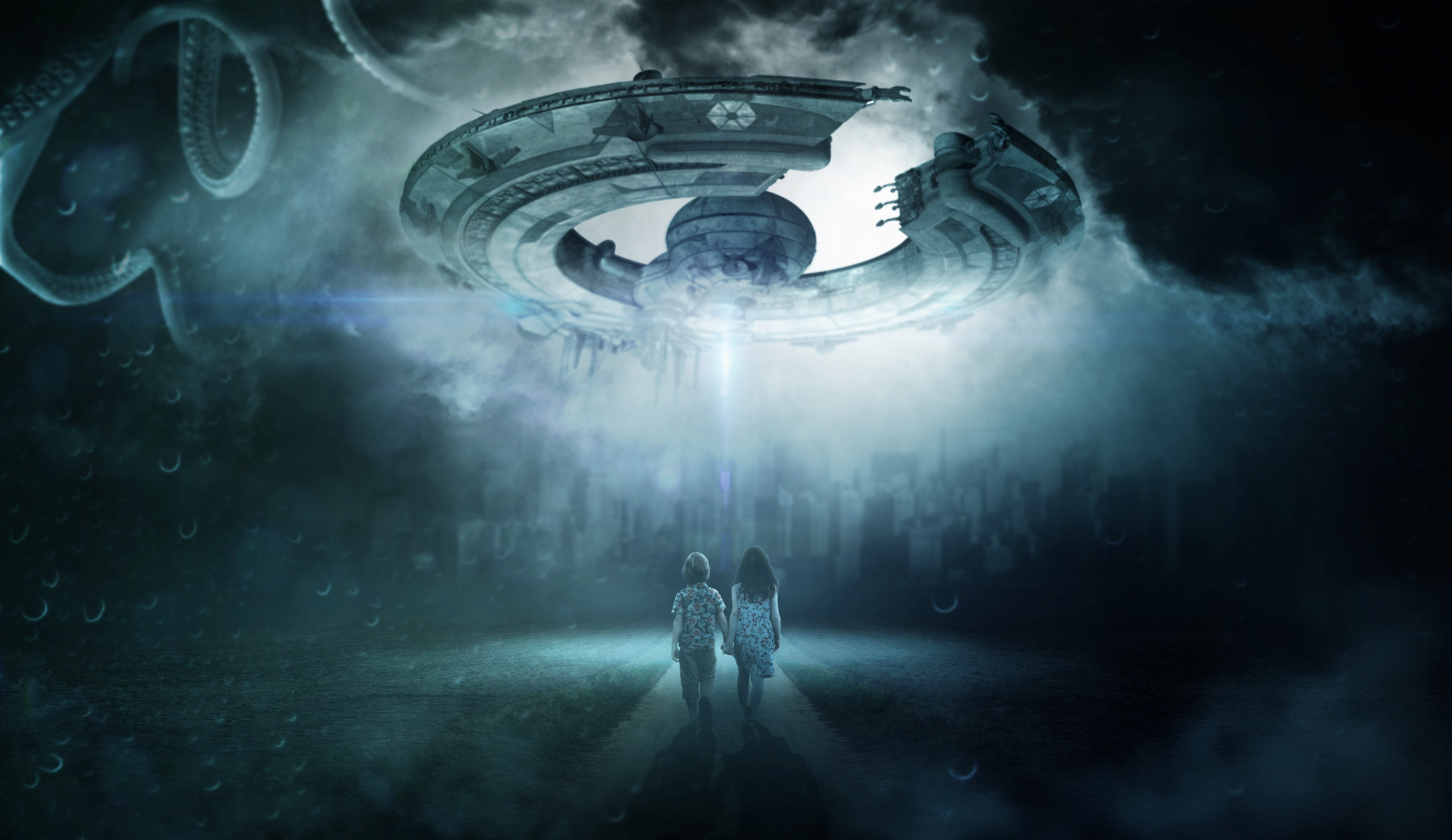 102723 Screensavers and Wallpapers Children for phone. Download Ufo, Children, Spaceship, Photoshop, Futuristic, Universe pictures for free