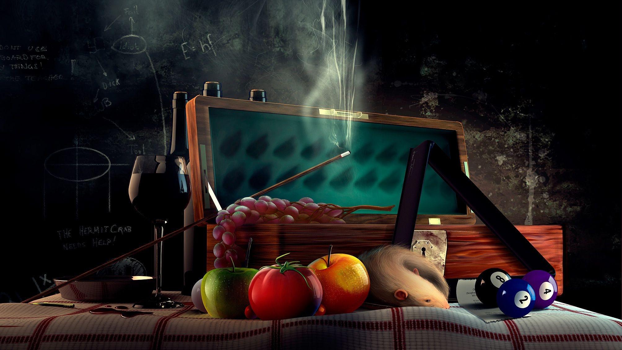 126830 descargar fondo de pantalla 3D, Rata, Un Tomate, Tomate, Vidrio, Señal, Taco, Billar, Junta, Tabla, Pelotas, Bolas, Guirnalda, Corona: protectores de pantalla e imágenes gratis