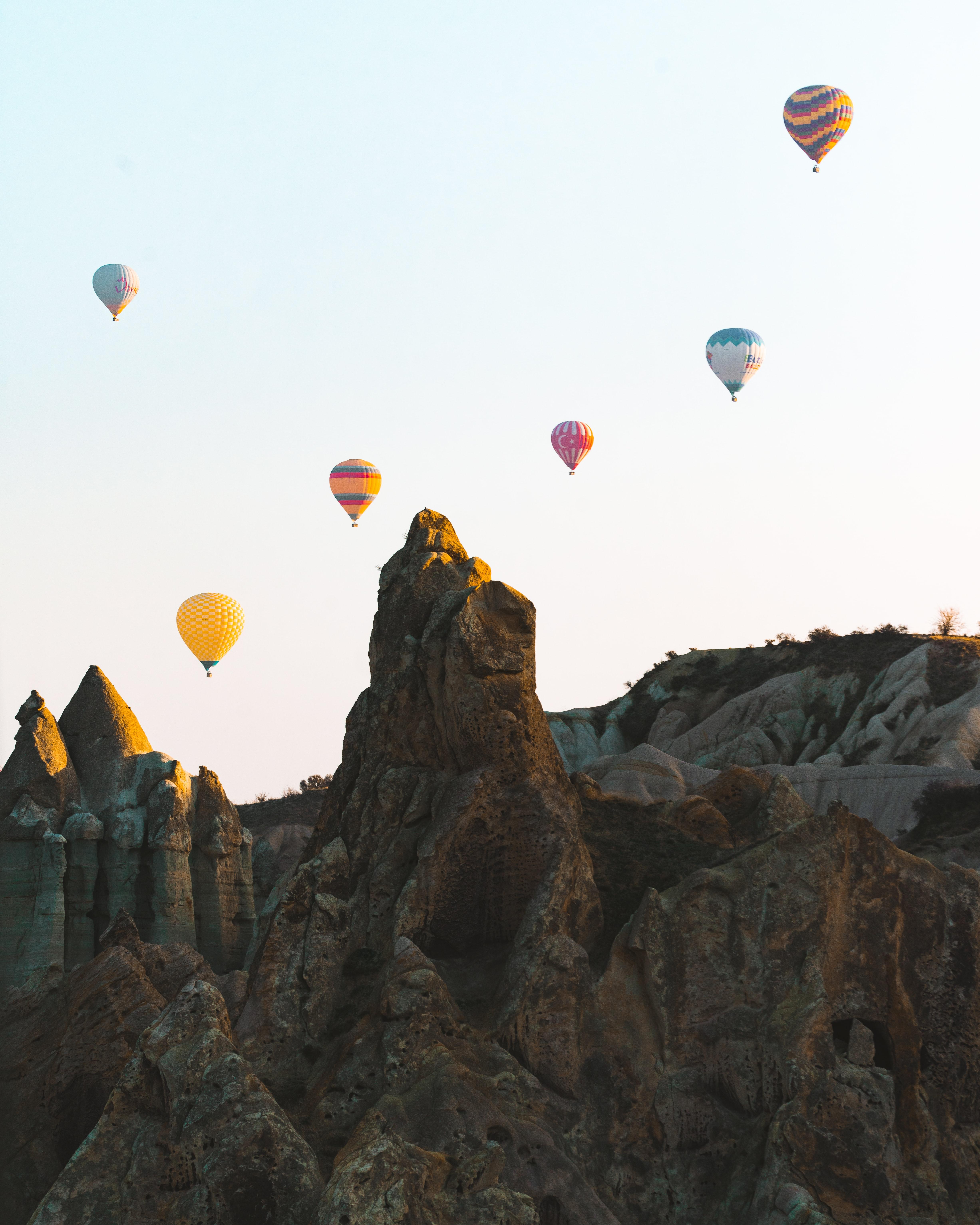 135156 скачать обои Разное, Скалы, Каменный, Небо, Воздушные Шары - заставки и картинки бесплатно