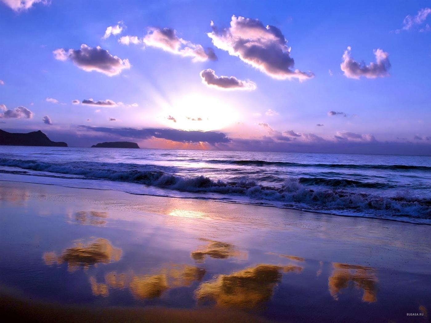 24389 скачать обои Пейзаж, Закат, Море, Облака, Волны, Пляж - заставки и картинки бесплатно