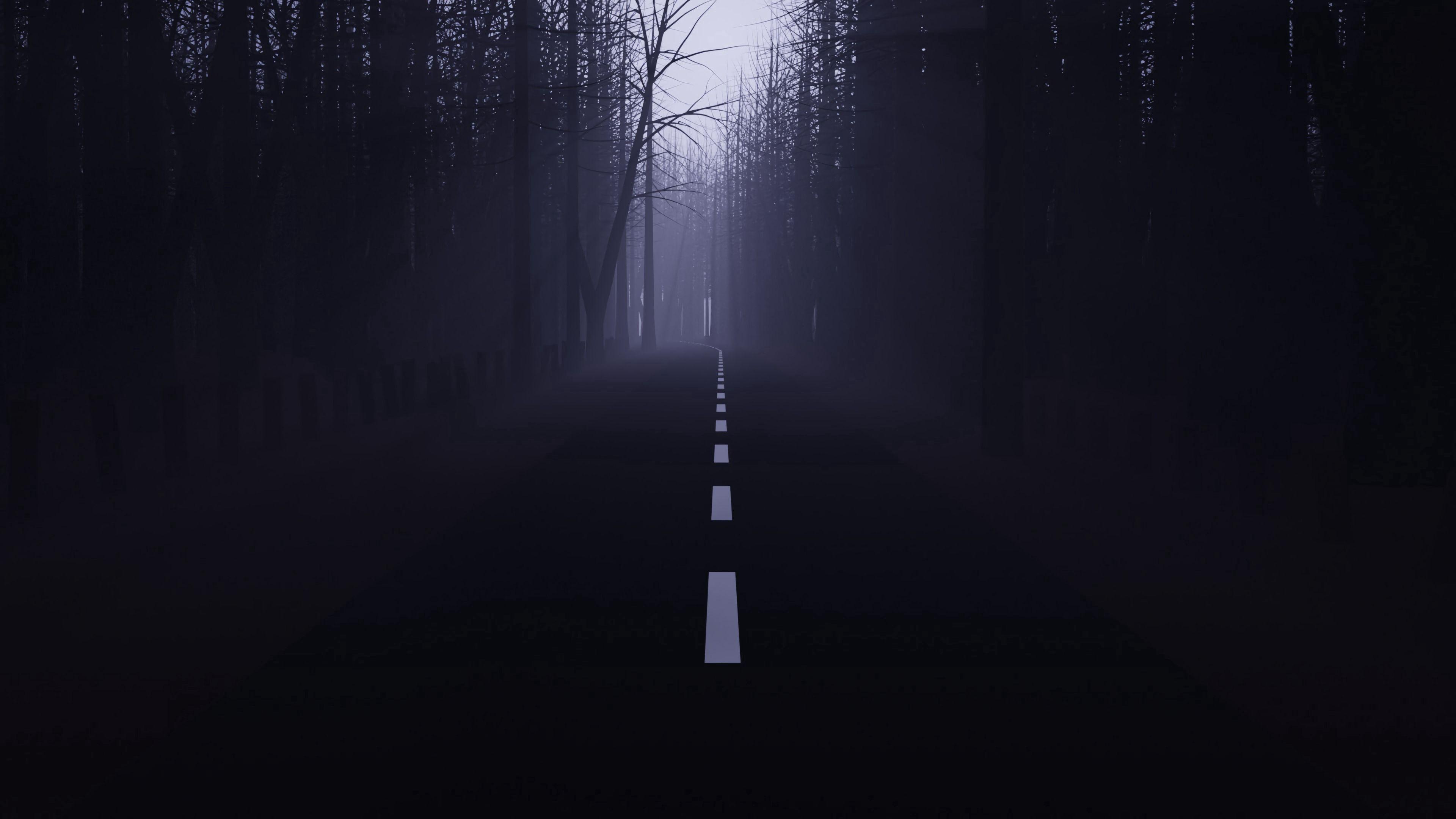 54292 скачать обои Темные, Дорога, Лес, Туман, Мгла, Деревья, Темный - заставки и картинки бесплатно