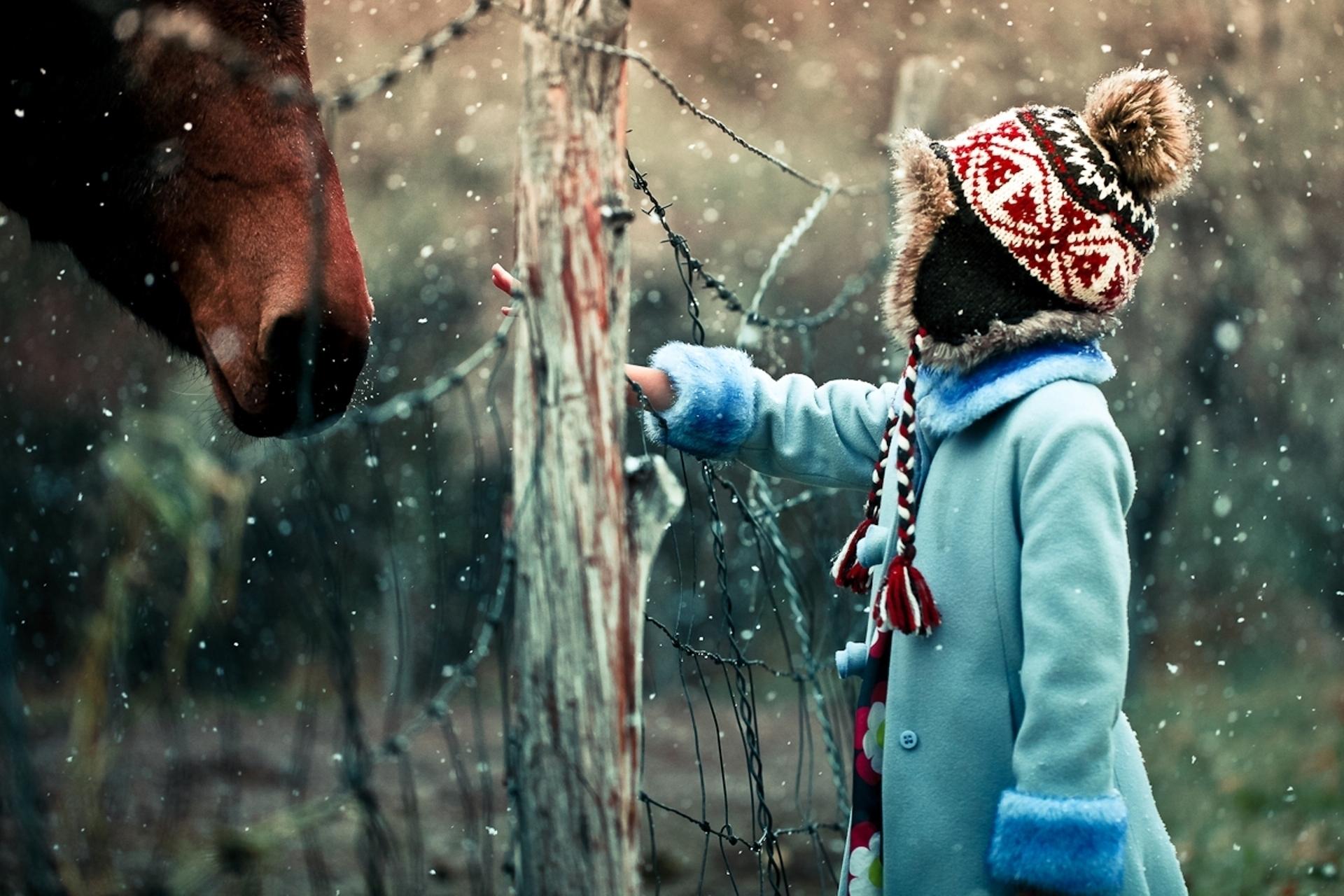 17474 скачать обои Люди, Зима, Лошади, Дети - заставки и картинки бесплатно
