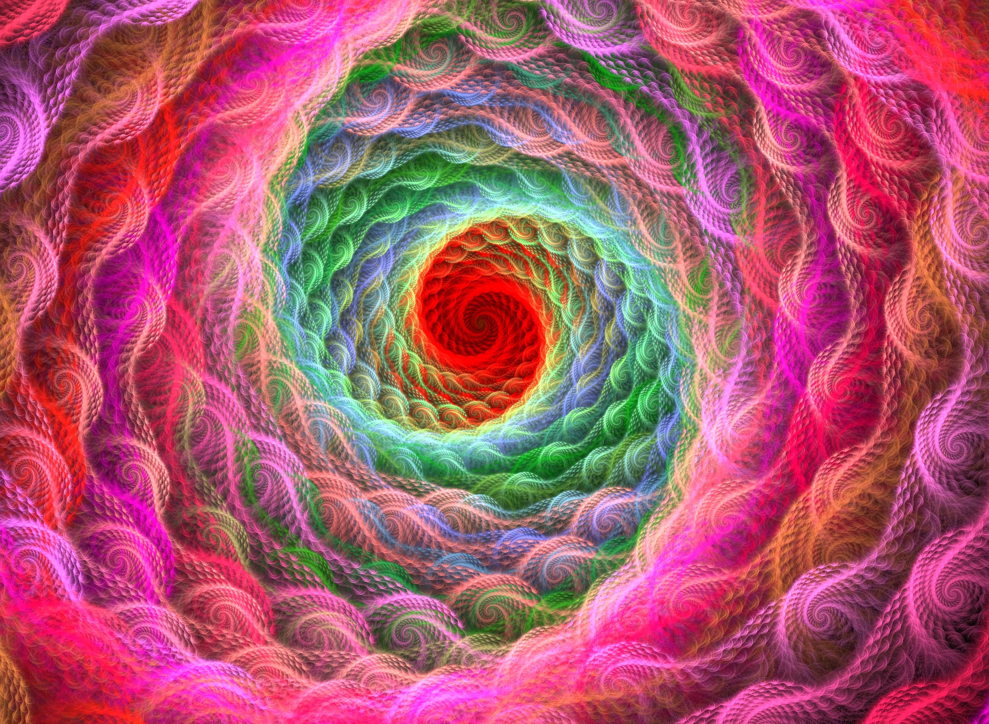 76346 免費下載壁紙 抽象, 螺旋, 明亮的, 明亮, 多彩多姿, 五颜六色, 打旋, 旋转, 分形 屏保和圖片