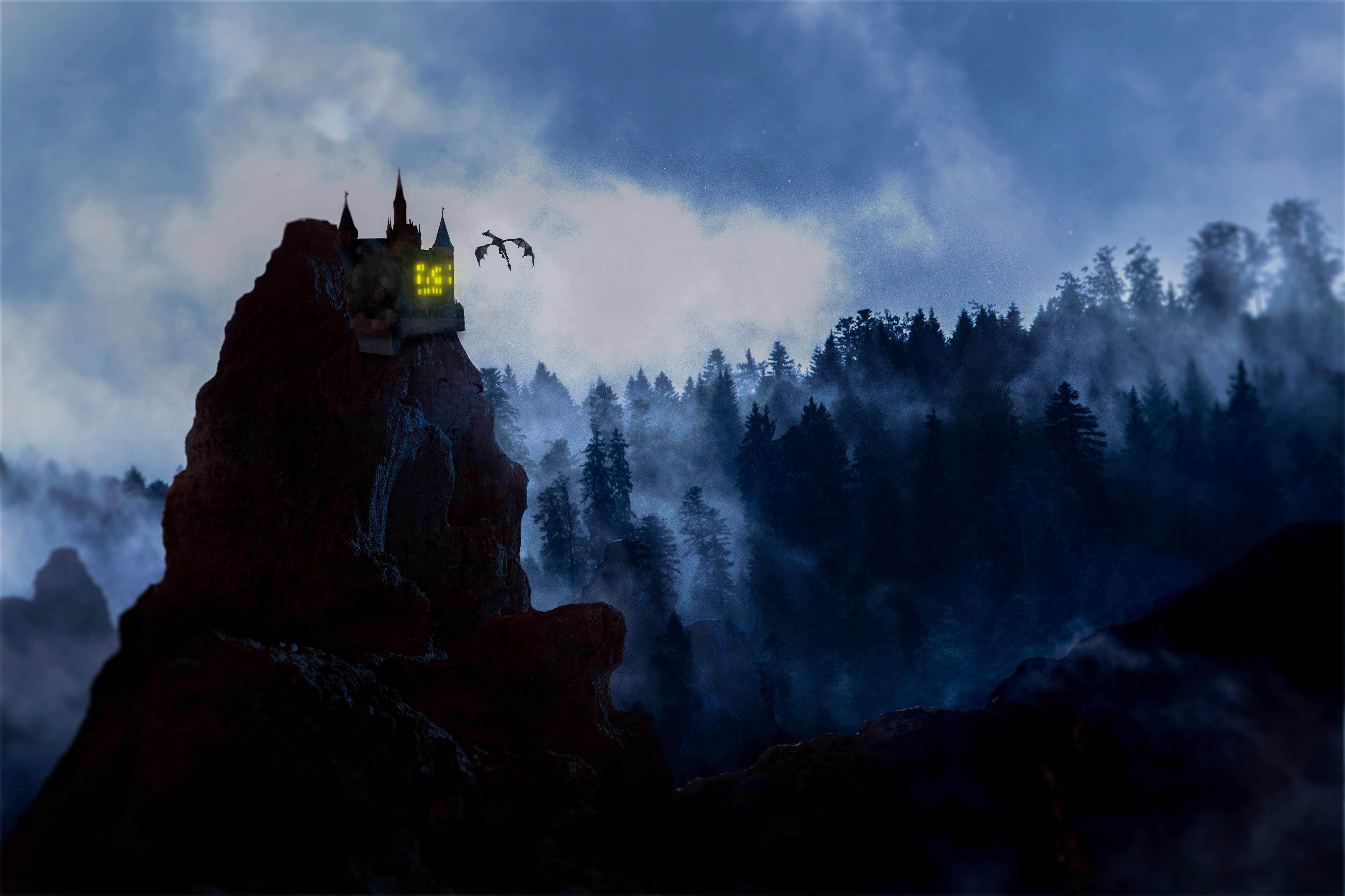 93321 download wallpaper Fantasy, Rock, Lock, Dragon, Fog, Forest screensavers and pictures for free