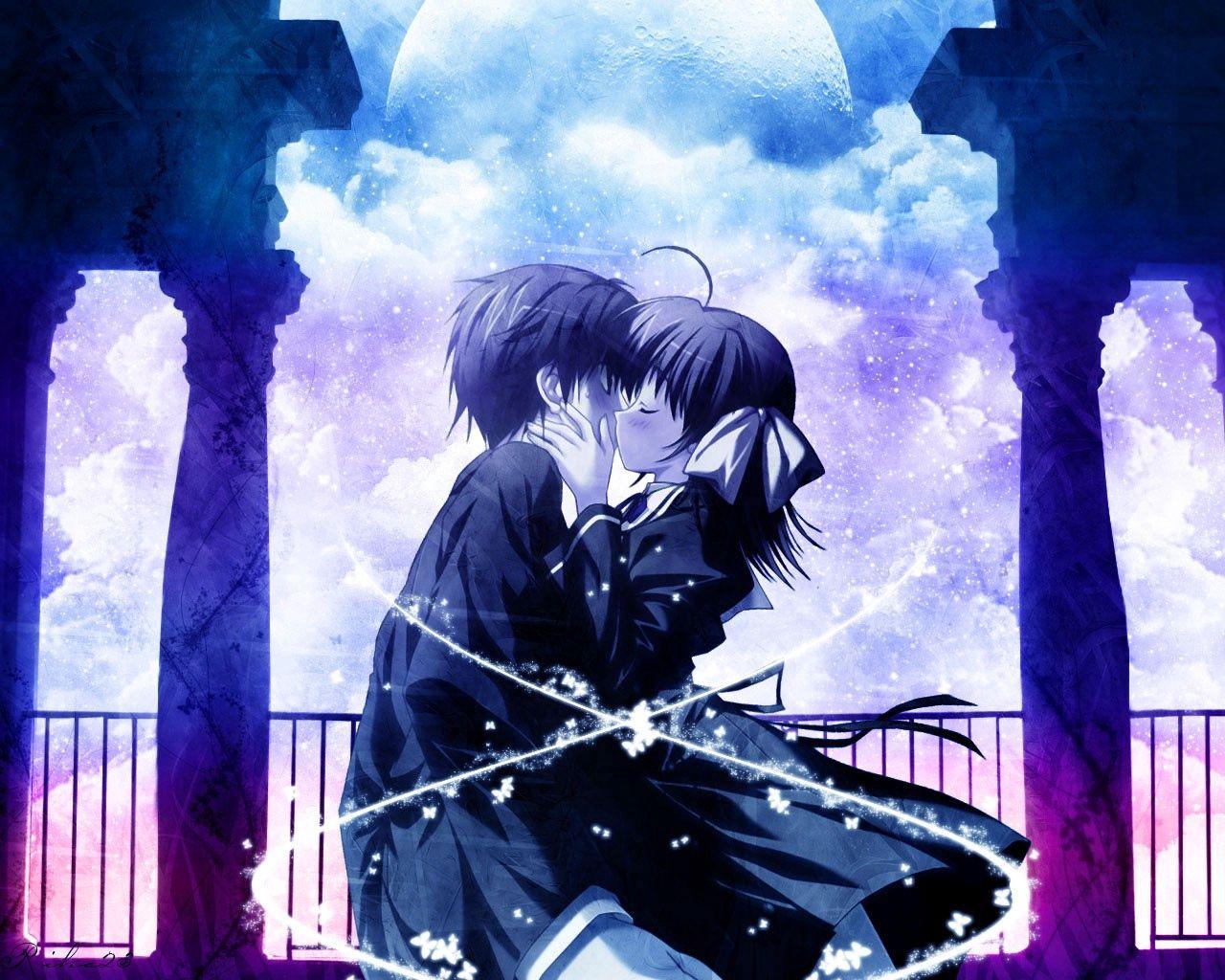 144105 Hintergrundbild herunterladen Anime, Mädchen, Zärtlichkeit, Kerl, Kuss - Bildschirmschoner und Bilder kostenlos