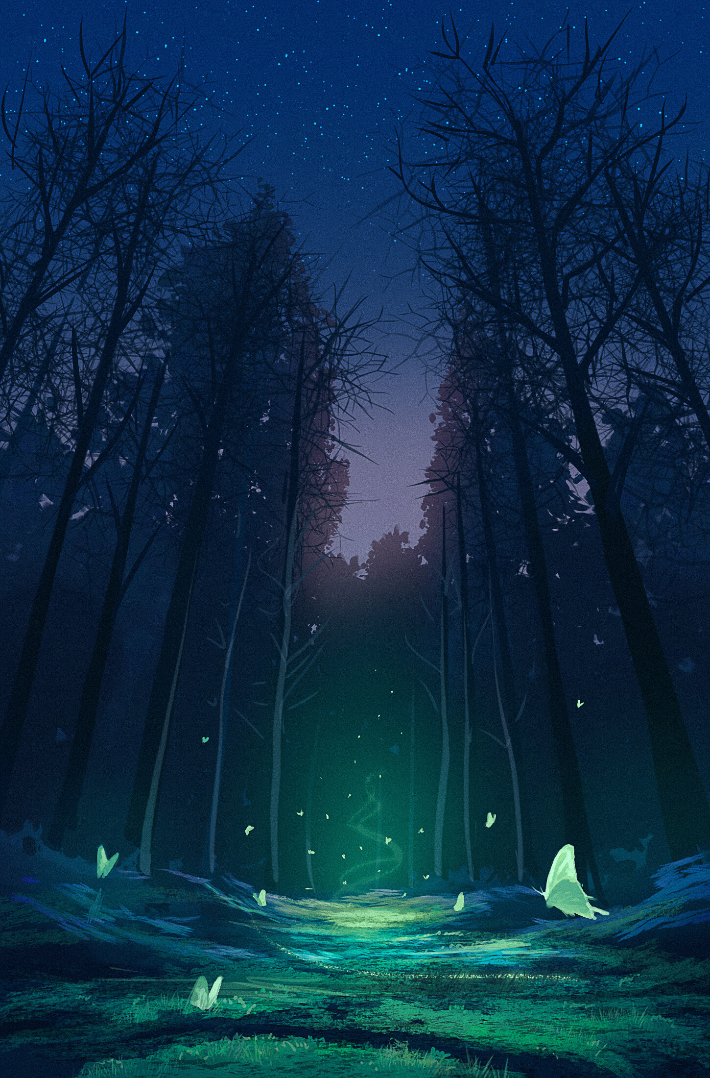 67940 download wallpaper Forest, Magic, Butterflies, Fantasy, Art screensavers and pictures for free