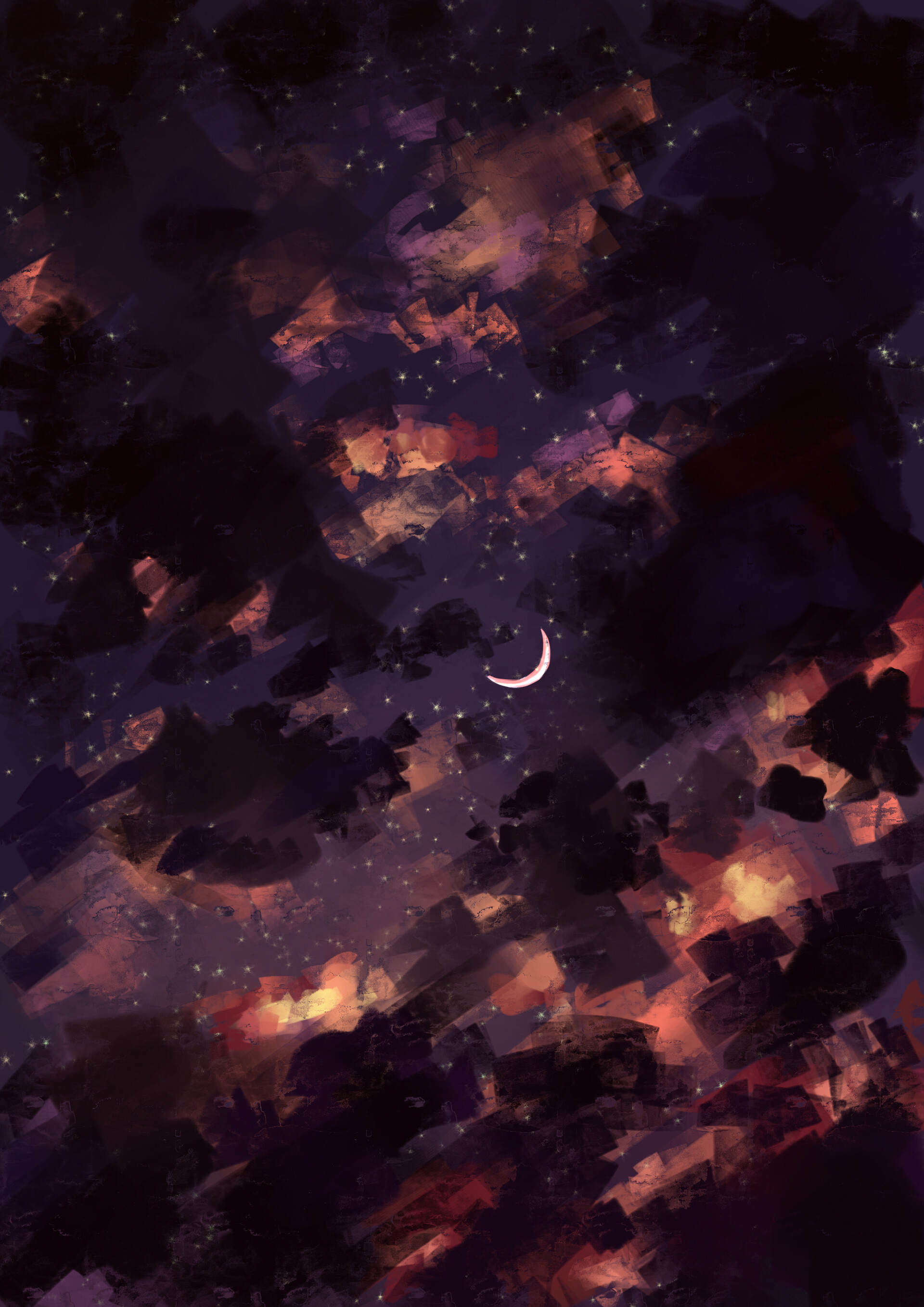 138921 download wallpaper Night, Sky, Art, Stars, Clouds, Moon screensavers and pictures for free