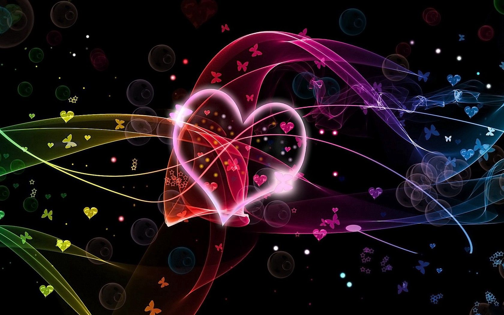 126993 download wallpaper Love, Heart, Circles, Butterflies, Multicolored, Motley screensavers and pictures for free