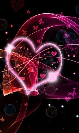 126993 descargar fondo de pantalla Amor, Un Corazón, Corazón, Círculos, Mariposas, Multicolor, Abigarrado: protectores de pantalla e imágenes gratis
