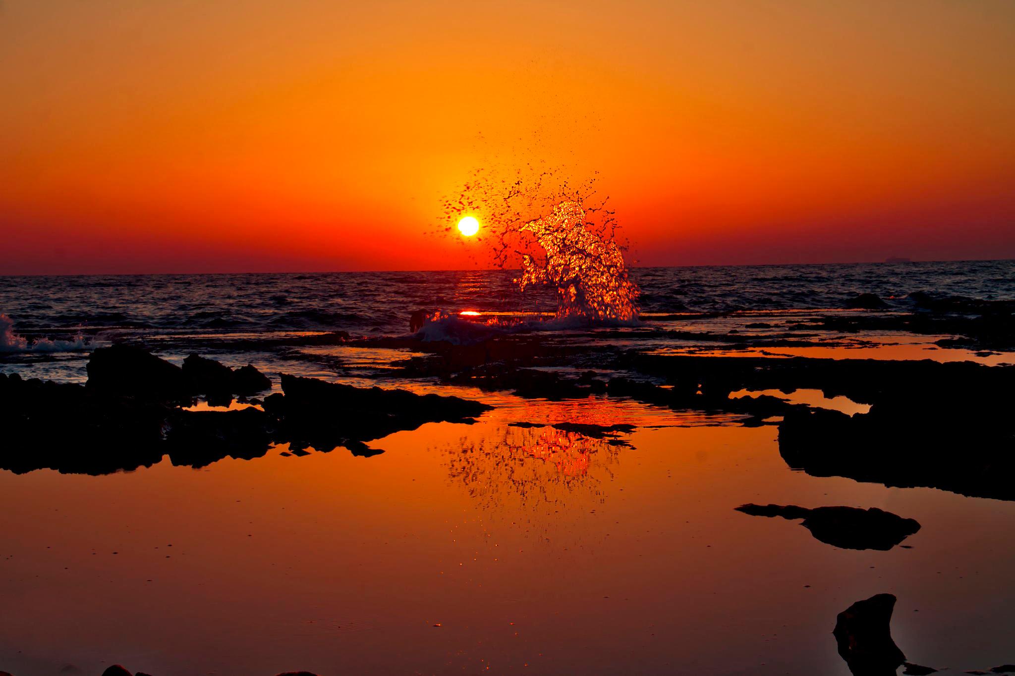 62590 скачать обои Природа, Индия, Закат, Всплеск, Берег, Океан - заставки и картинки бесплатно