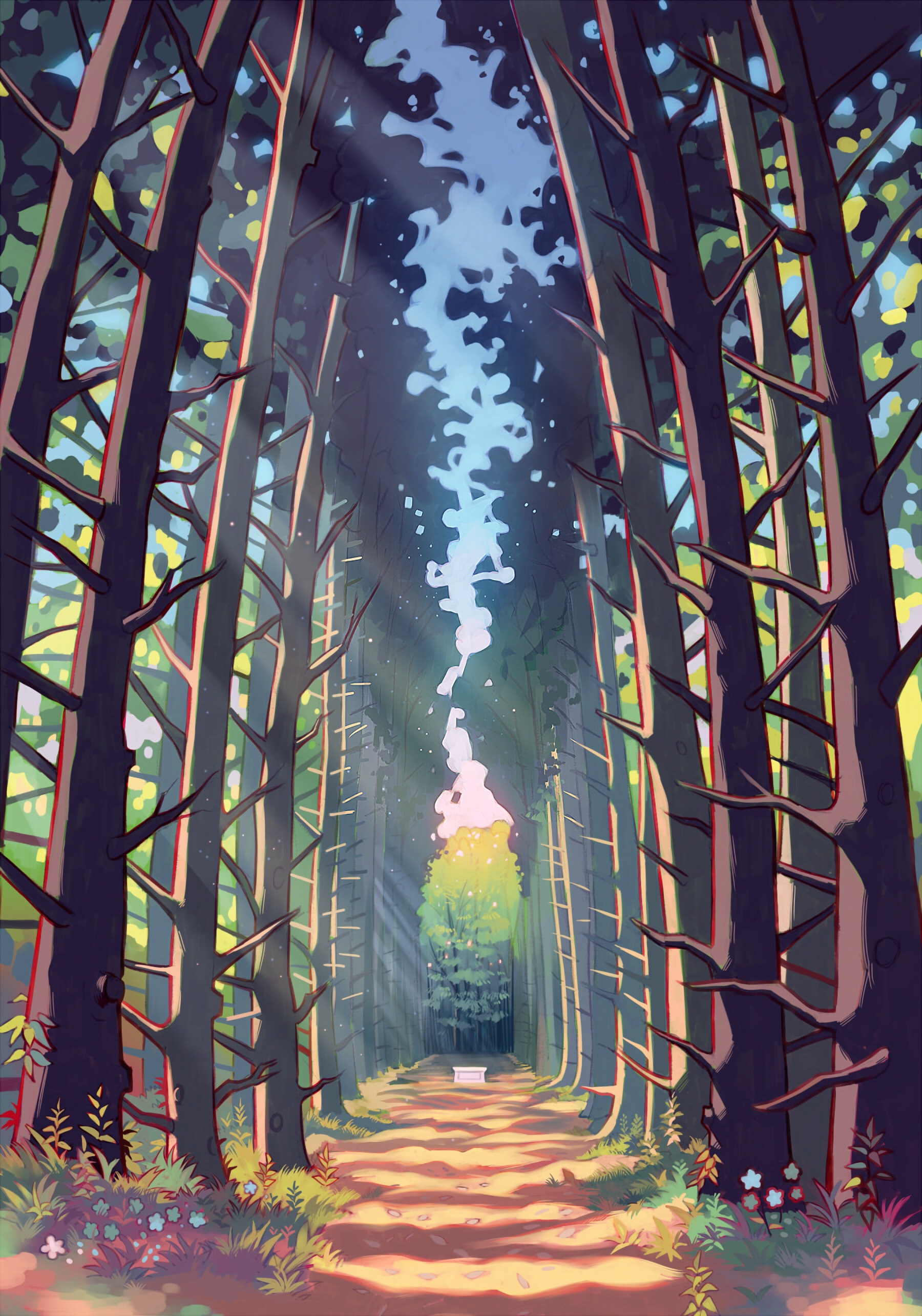 57925 free wallpaper 540x960 for phone, download images Trees, Art, Forest, Alley, Track 540x960 for mobile