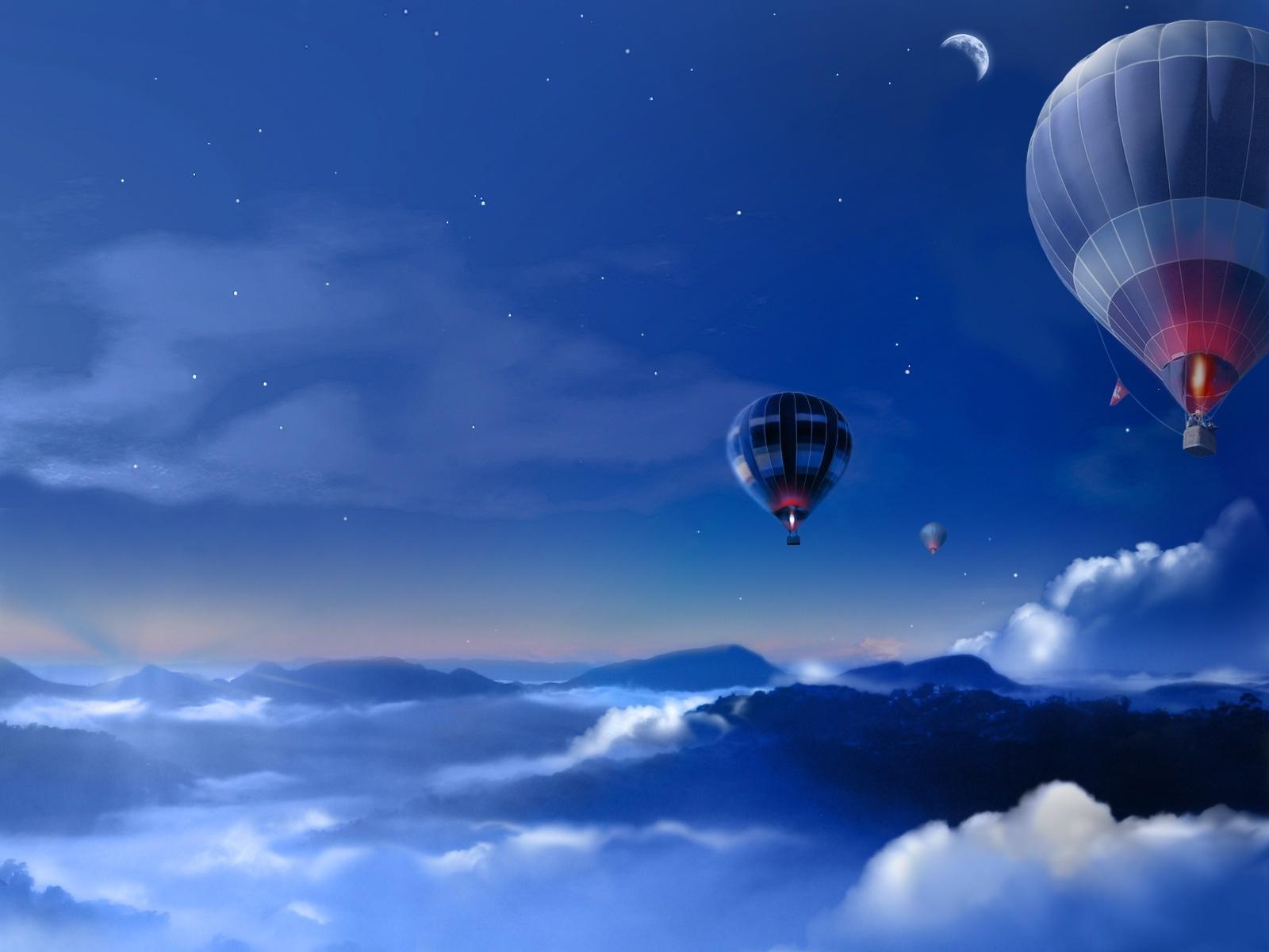 16927 скачать обои Пейзаж, Небо, Ночь, Рисунки, Воздушные Шары - заставки и картинки бесплатно