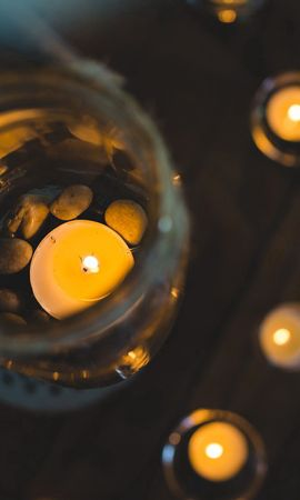 135877 завантажити шпалери Різне, Свічки, Банку, Глек, Скло, Склянка, Світло, Світлий - заставки і картинки безкоштовно