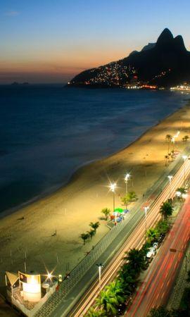 25033 скачать обои Пейзаж, Города, Дороги, Горы, Море, Ночь, Пляж - заставки и картинки бесплатно