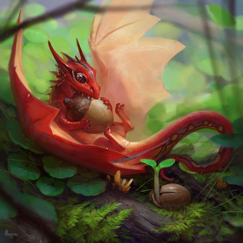 60063 download wallpaper Fantasy, Dragon, Acorn, Art, Fantastic, Food screensavers and pictures for free