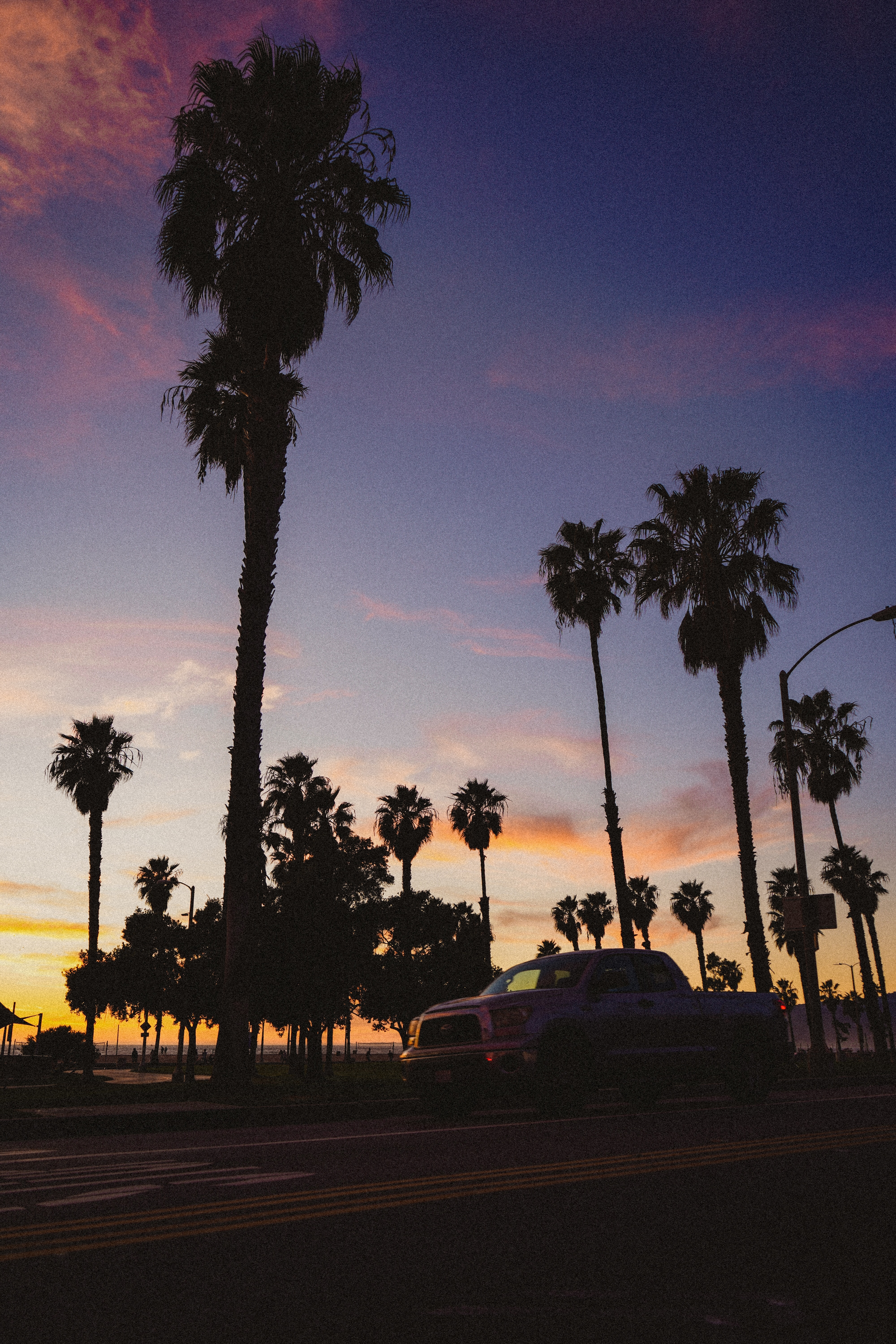 136353 download wallpaper Dark, Road, Car, Machine, Dusk, Twilight, Palms screensavers and pictures for free