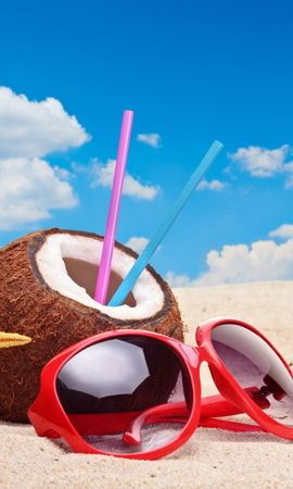 12535 download wallpaper Landscape, Beach, Summer, Drinks, Coconuts screensavers and pictures for free