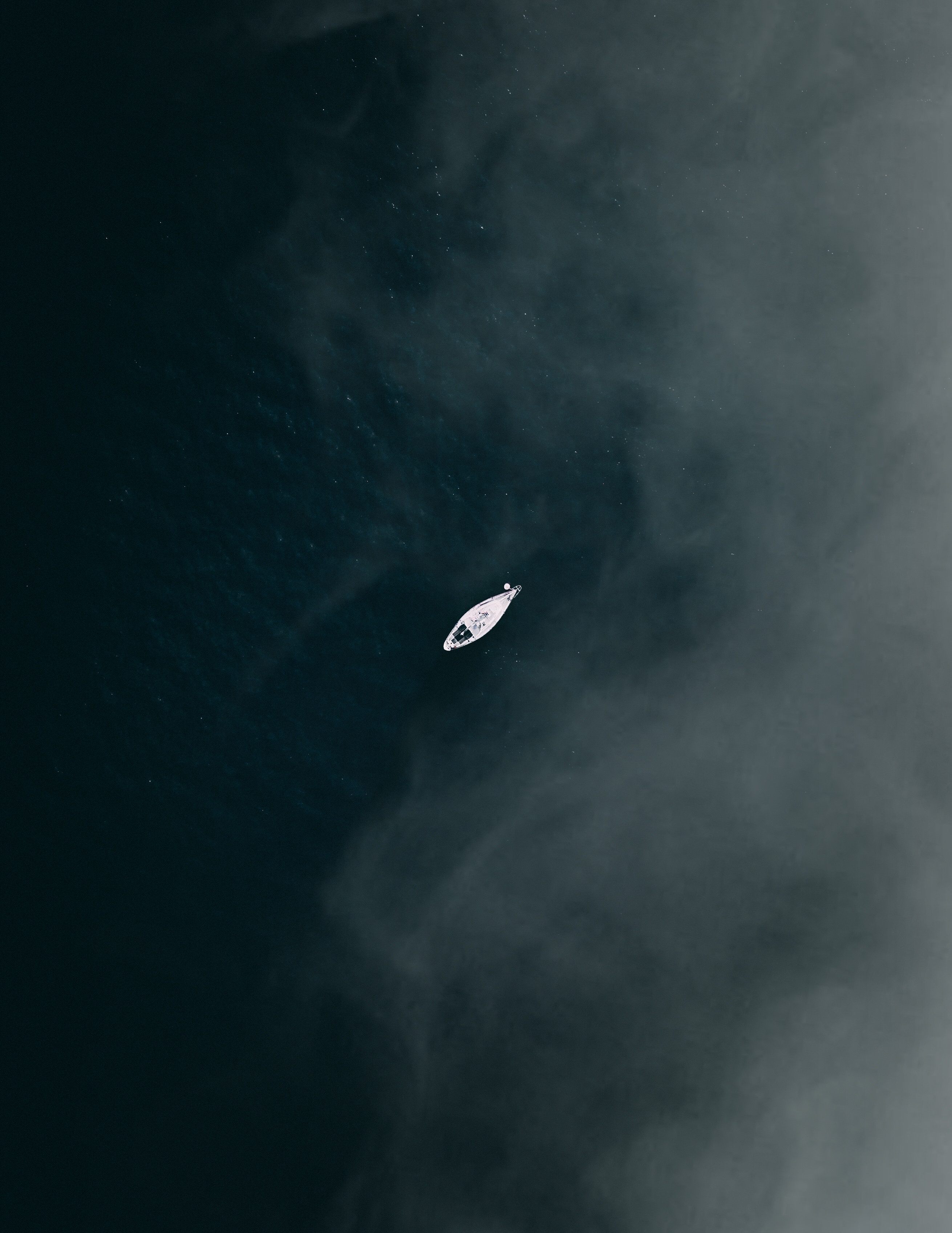 99405 Screensavers and Wallpapers Boat for phone. Download View From Above, Lake, Fog, Minimalism, Boat, Calmness, Tranquillity pictures for free