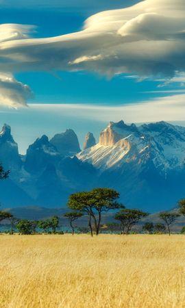 69207 скачать обои Природа, Поле, Деревья, Саванна, Горы, Пейзаж - заставки и картинки бесплатно