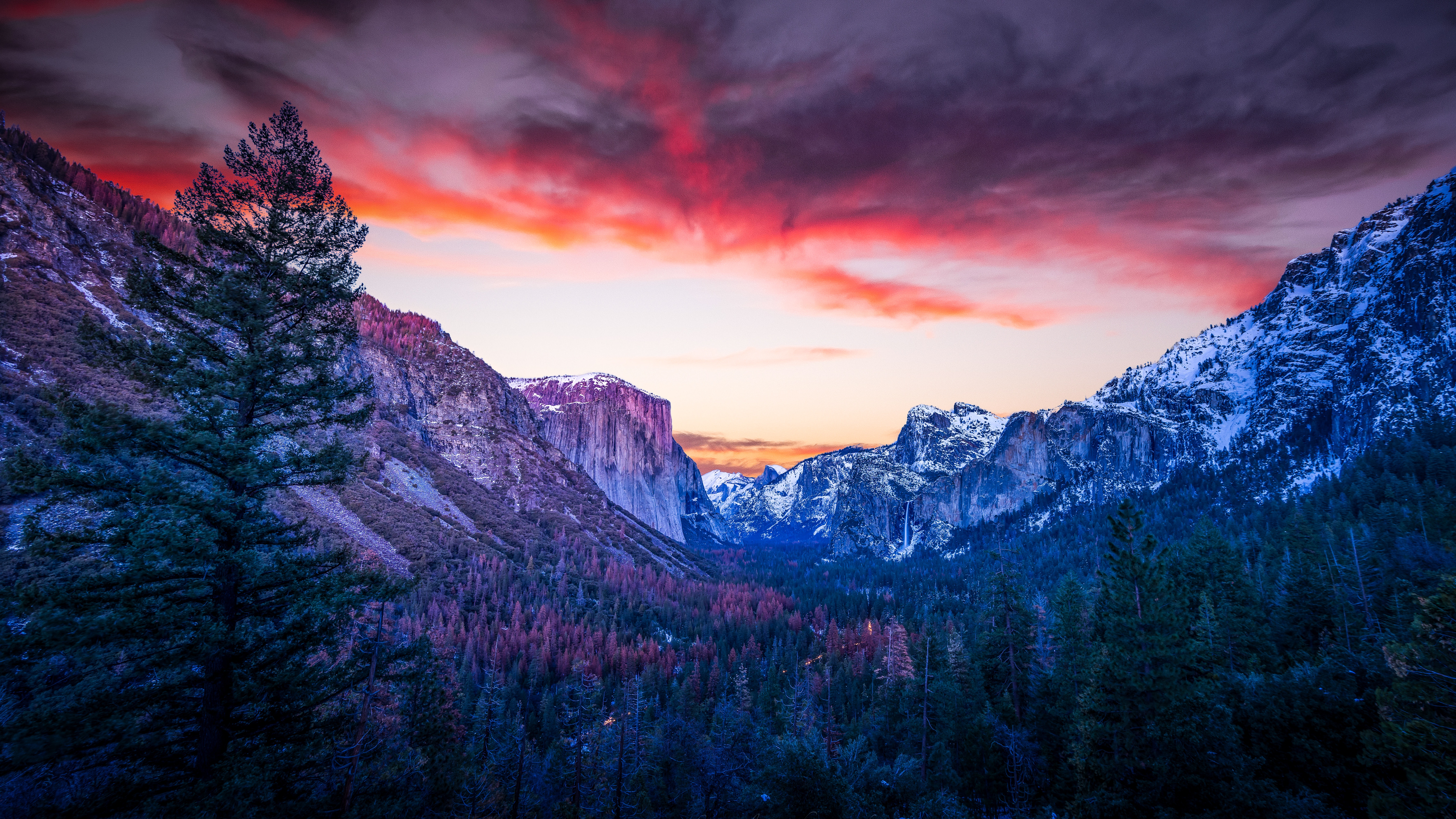 112700 download wallpaper Nature, Forest, Dusk, Twilight, Canyon, Clouds, Sunset, Mountains screensavers and pictures for free