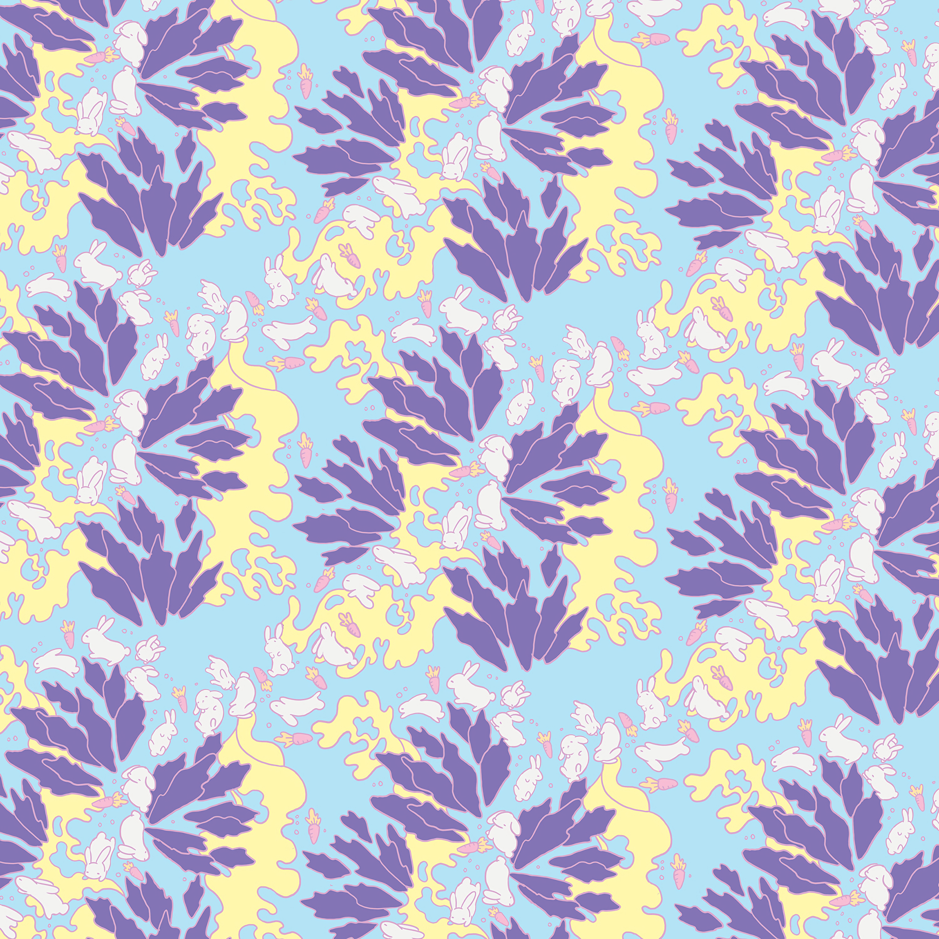 125076 download wallpaper Leaves, Rabbits, Multicolored, Motley, Pattern, Texture, Textures, Carrot screensavers and pictures for free