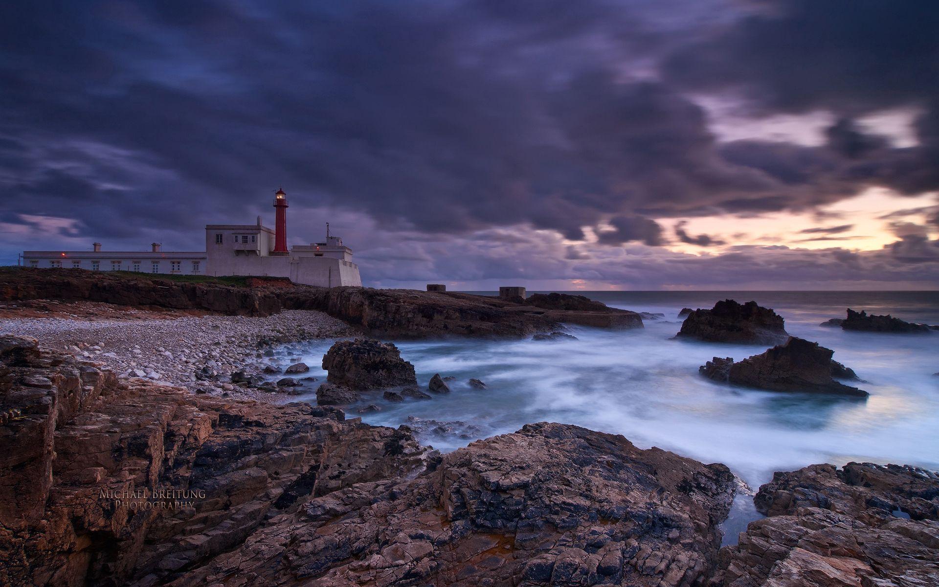 63415壁紙のダウンロード自然, 海, イブニング, 夕方, 灯台, ポルトガル, ショア, 銀行-スクリーンセーバーと写真を無料で