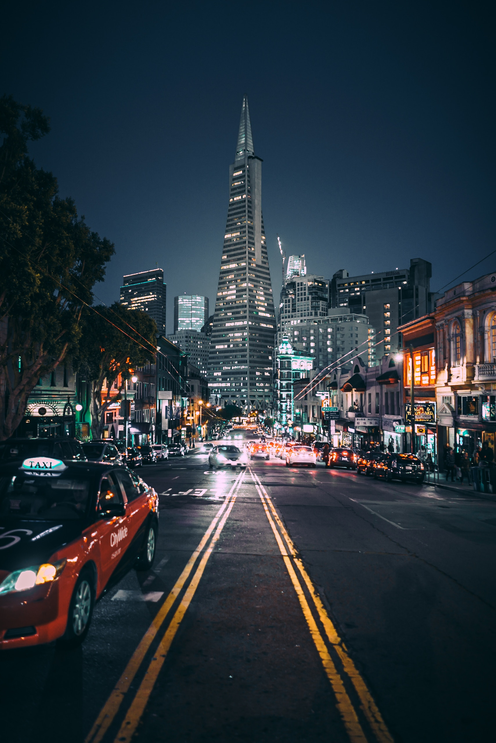 118076 Screensavers and Wallpapers Night City for phone. Download Night City, Cities, Usa, Road, City Lights, United States, Street, San Francisco pictures for free