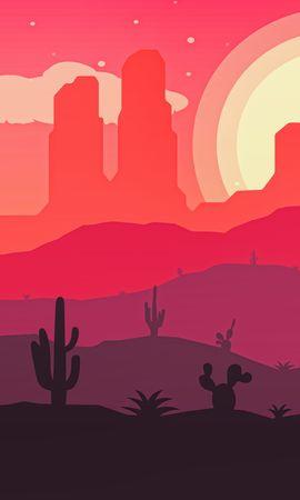 156164 Заставки и Обои Пустыня на телефон. Скачать Вектор, Волк, Пустыня, Солнце, Кактусы картинки бесплатно