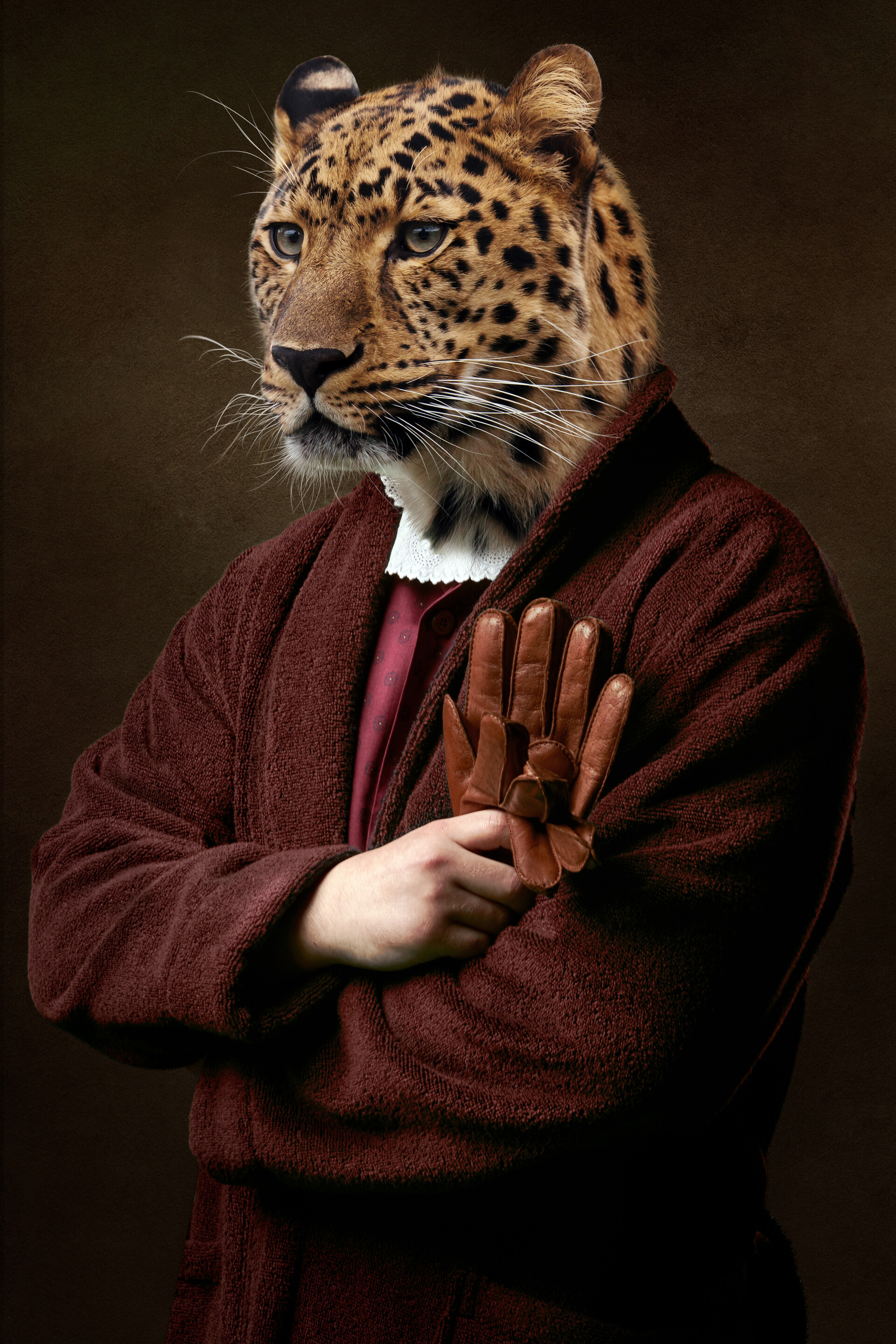 146908 download wallpaper Miscellanea, Miscellaneous, Leopard, Clothing, Animal, Human, Person screensavers and pictures for free