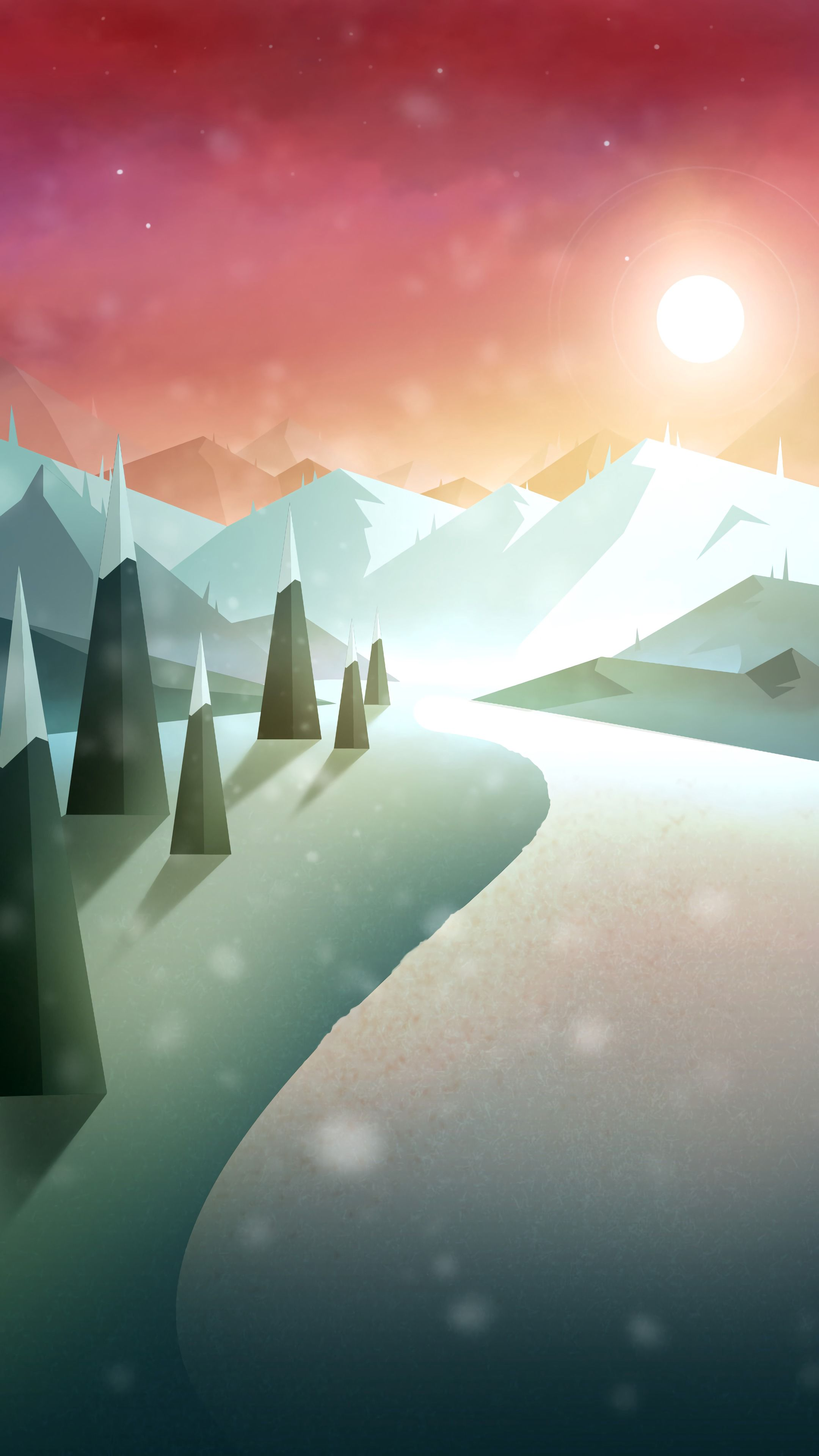 107353 download wallpaper Road, Snow, Art, Mountains, Sun screensavers and pictures for free
